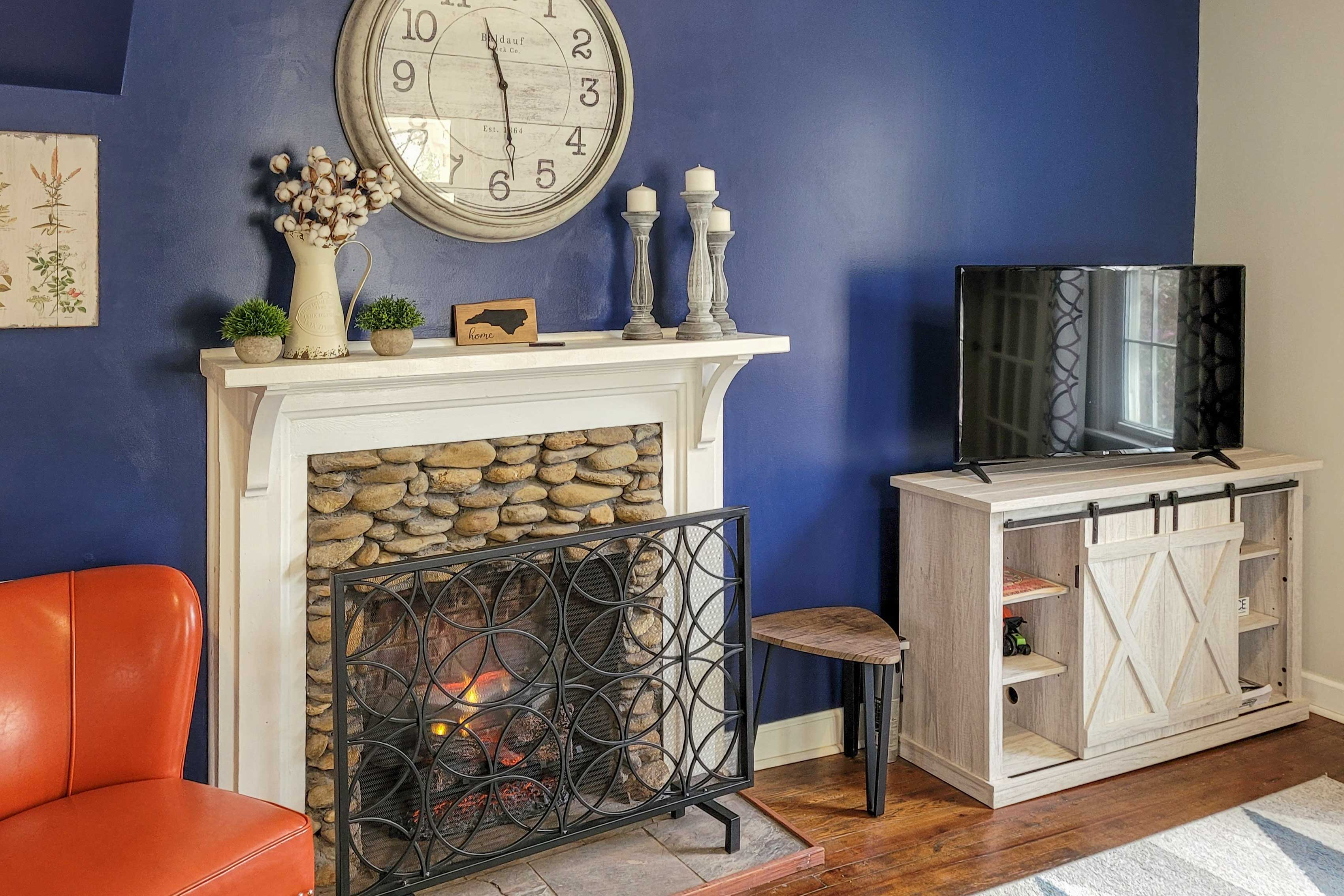 The home was just updated with a new fireplace.