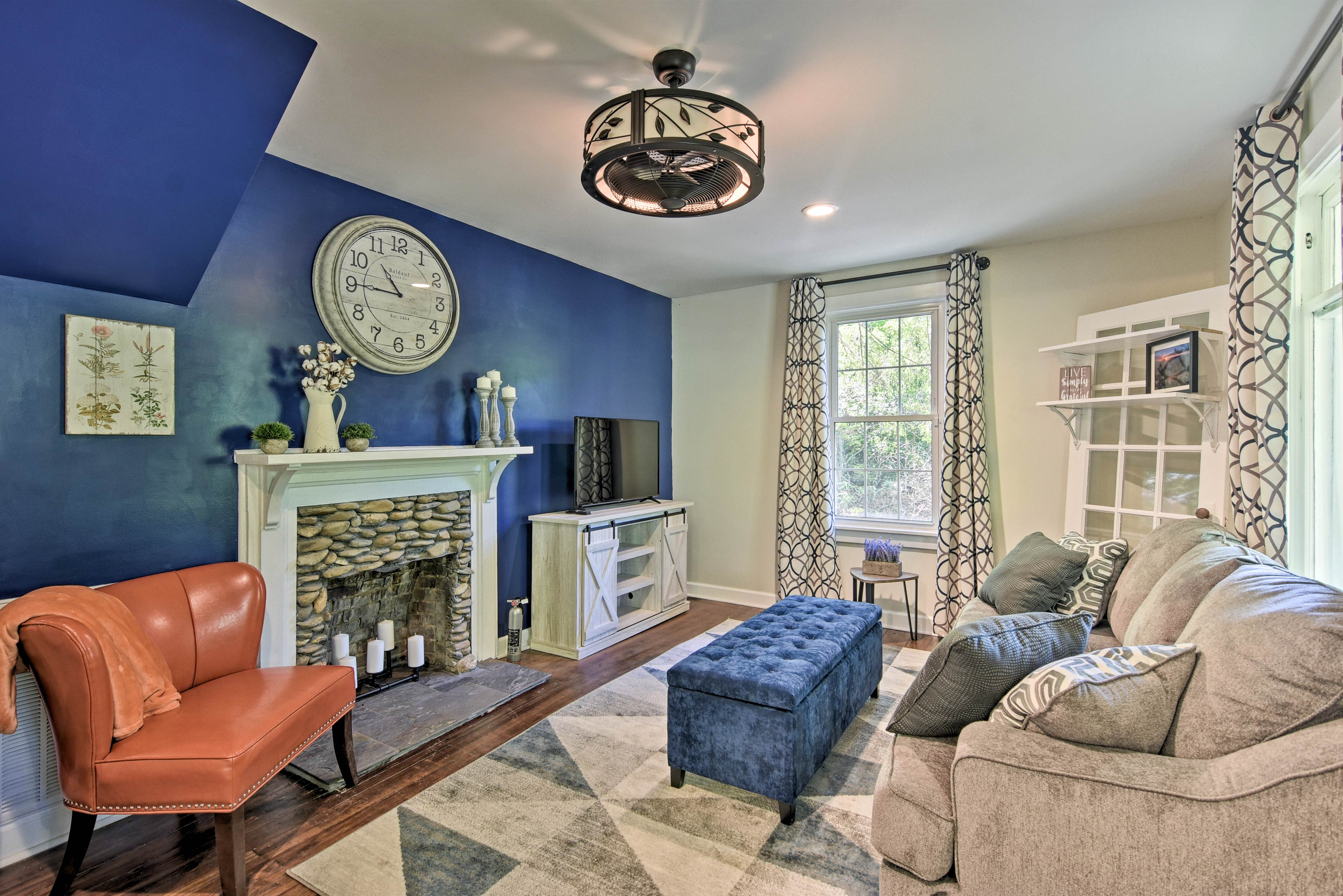 Make yourself comfortable in the inviting living room of this vacation rental.