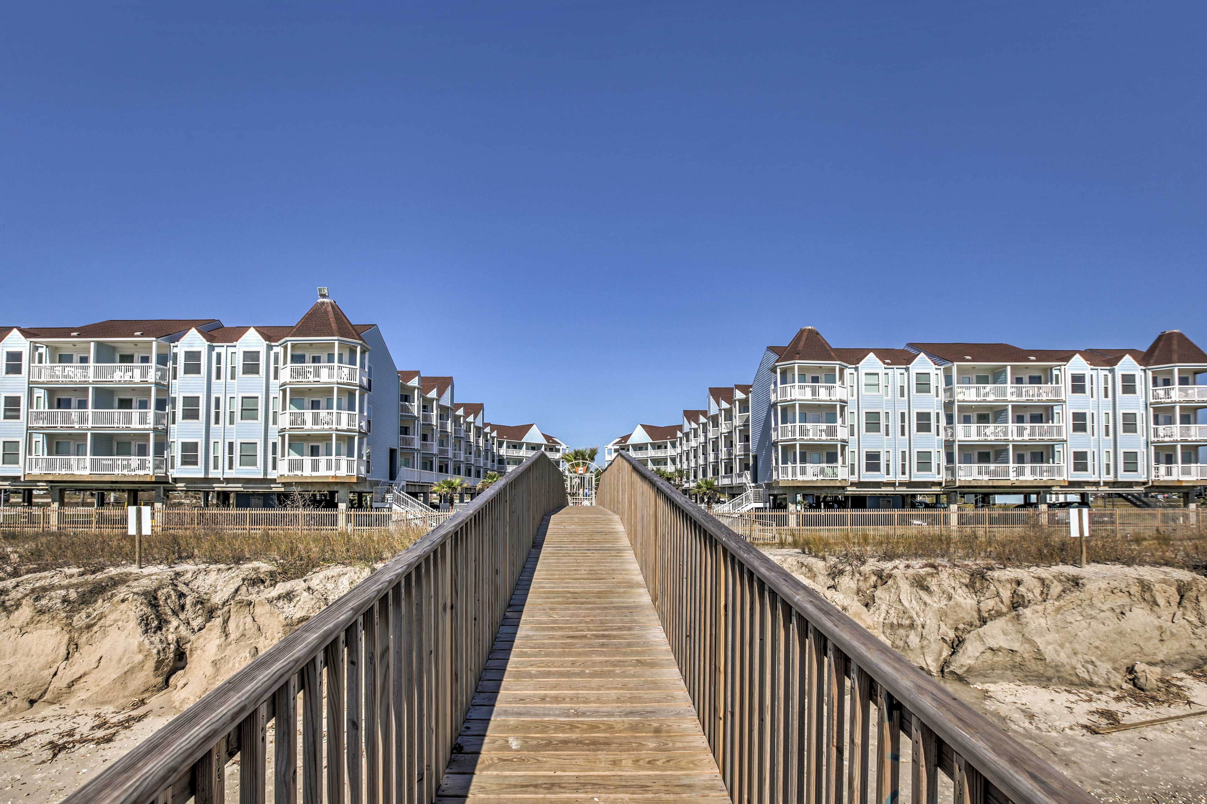 The boardwalk will lead you to the sandy shoreline of Galveston!