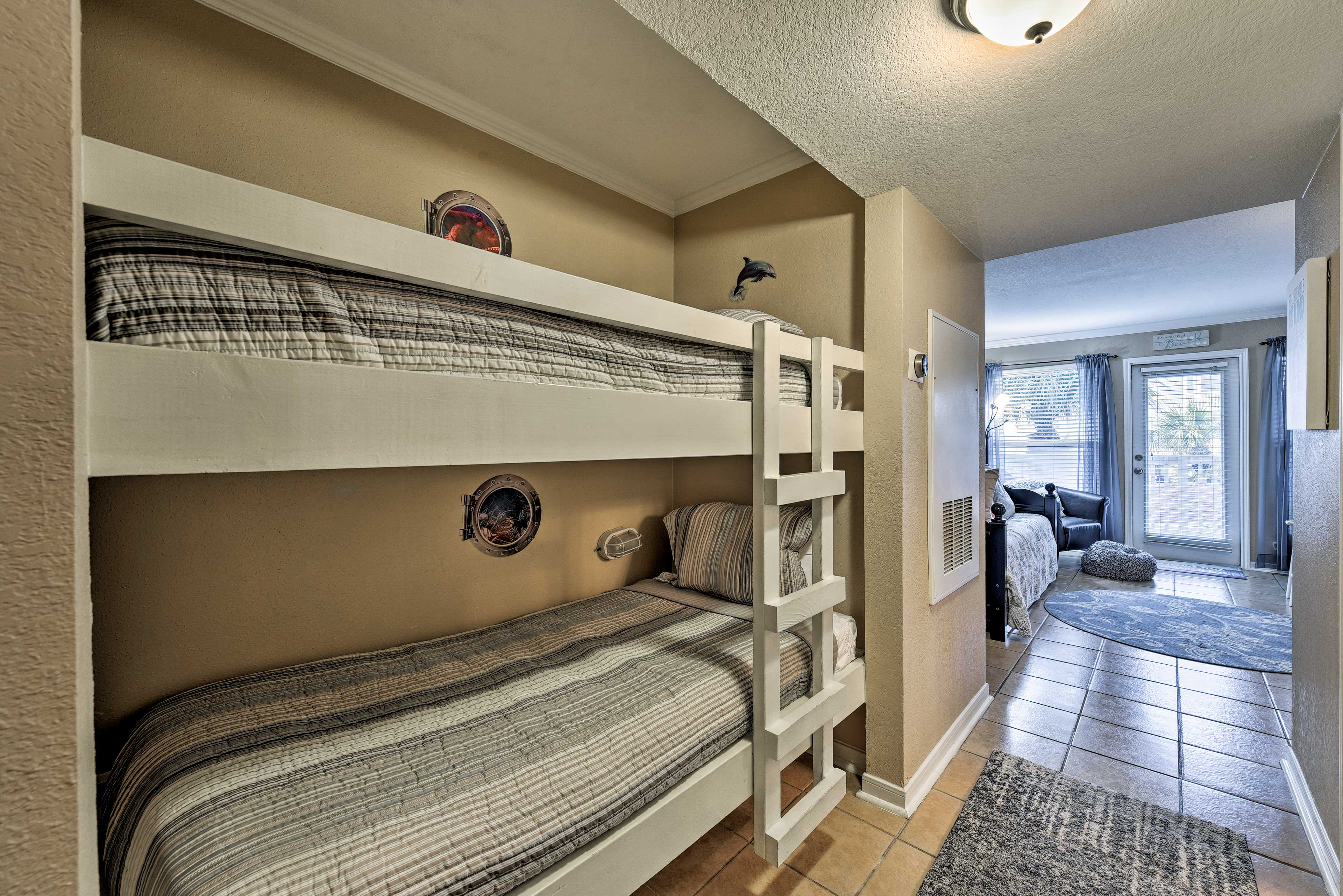 Sleep up to 2 guests in this twin-over-twin bunk bed.