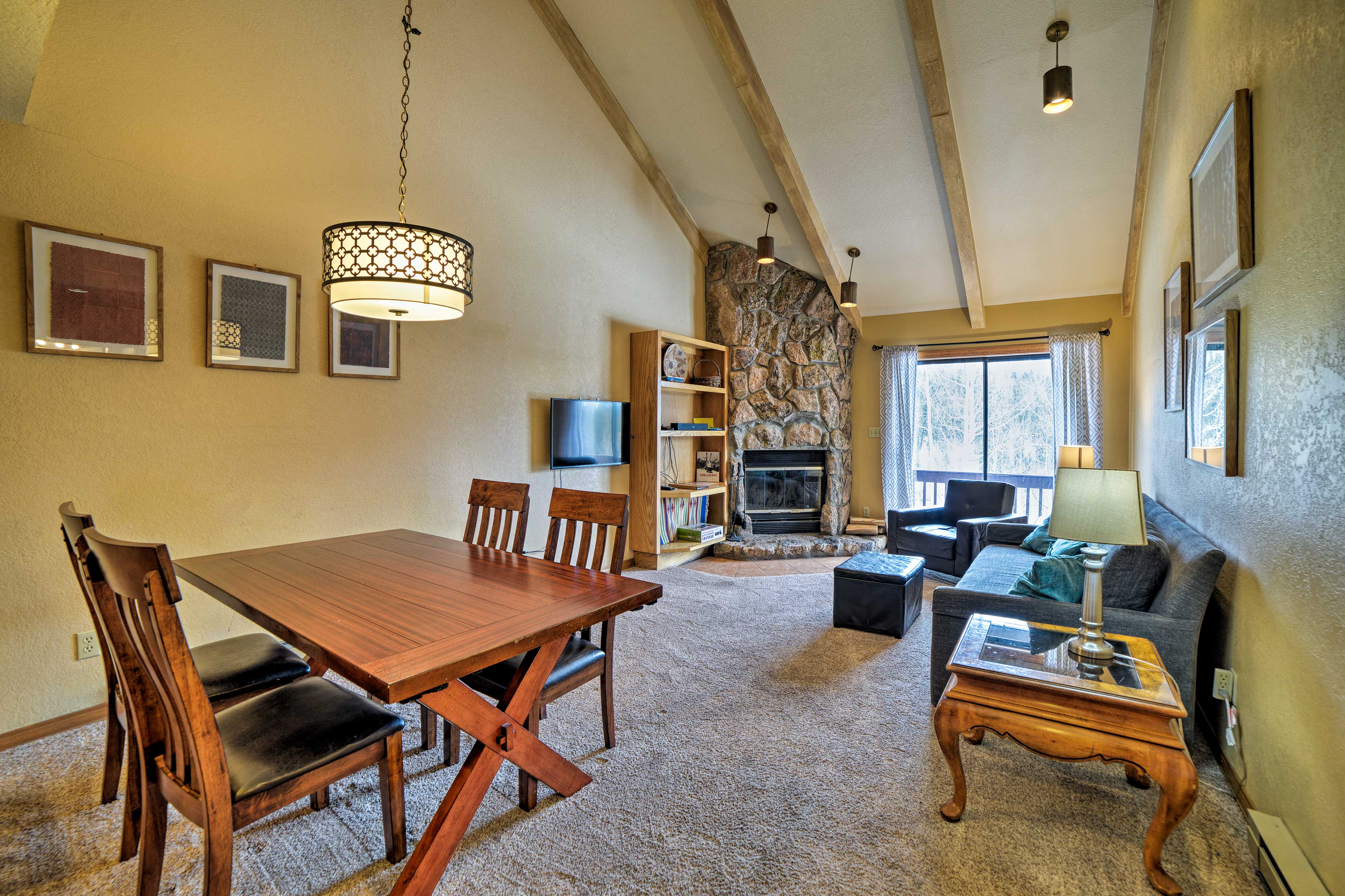 Living Room | Dining Table | Wood-Burning Fireplace