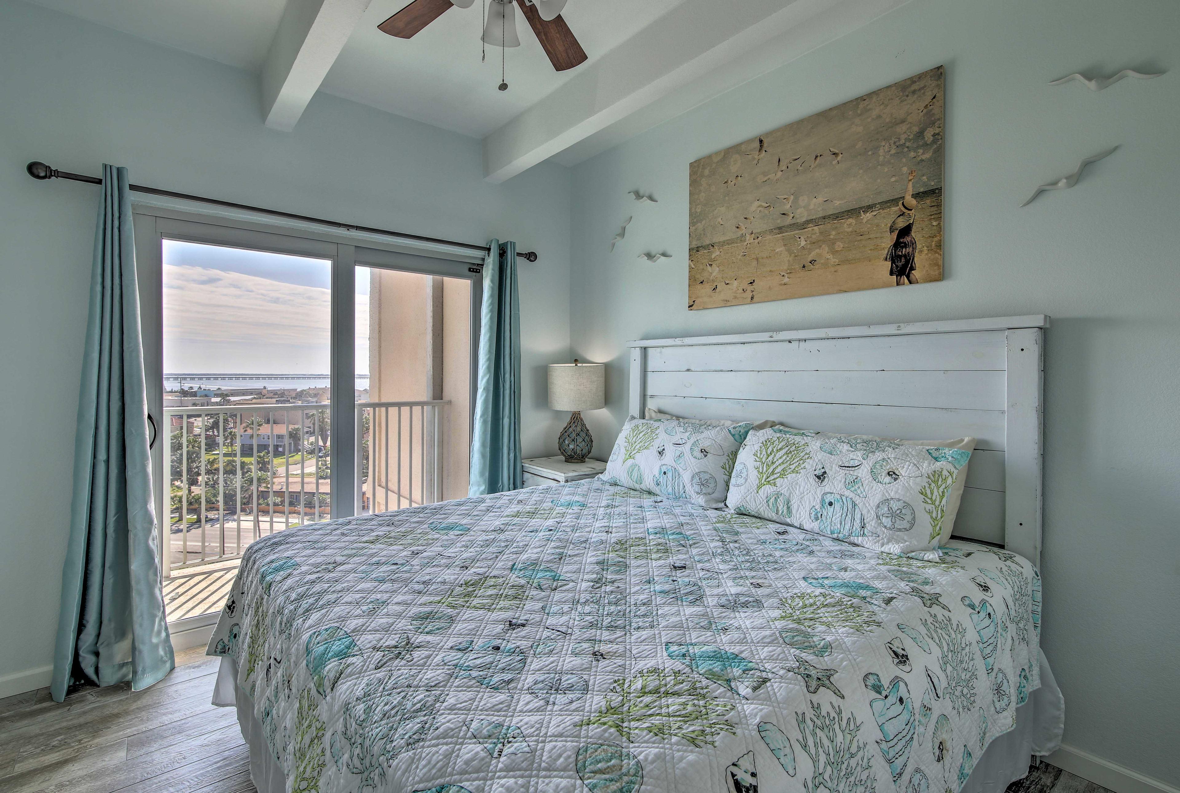 Bedroom 1 | King Bed | Linens Provided | Balcony Access