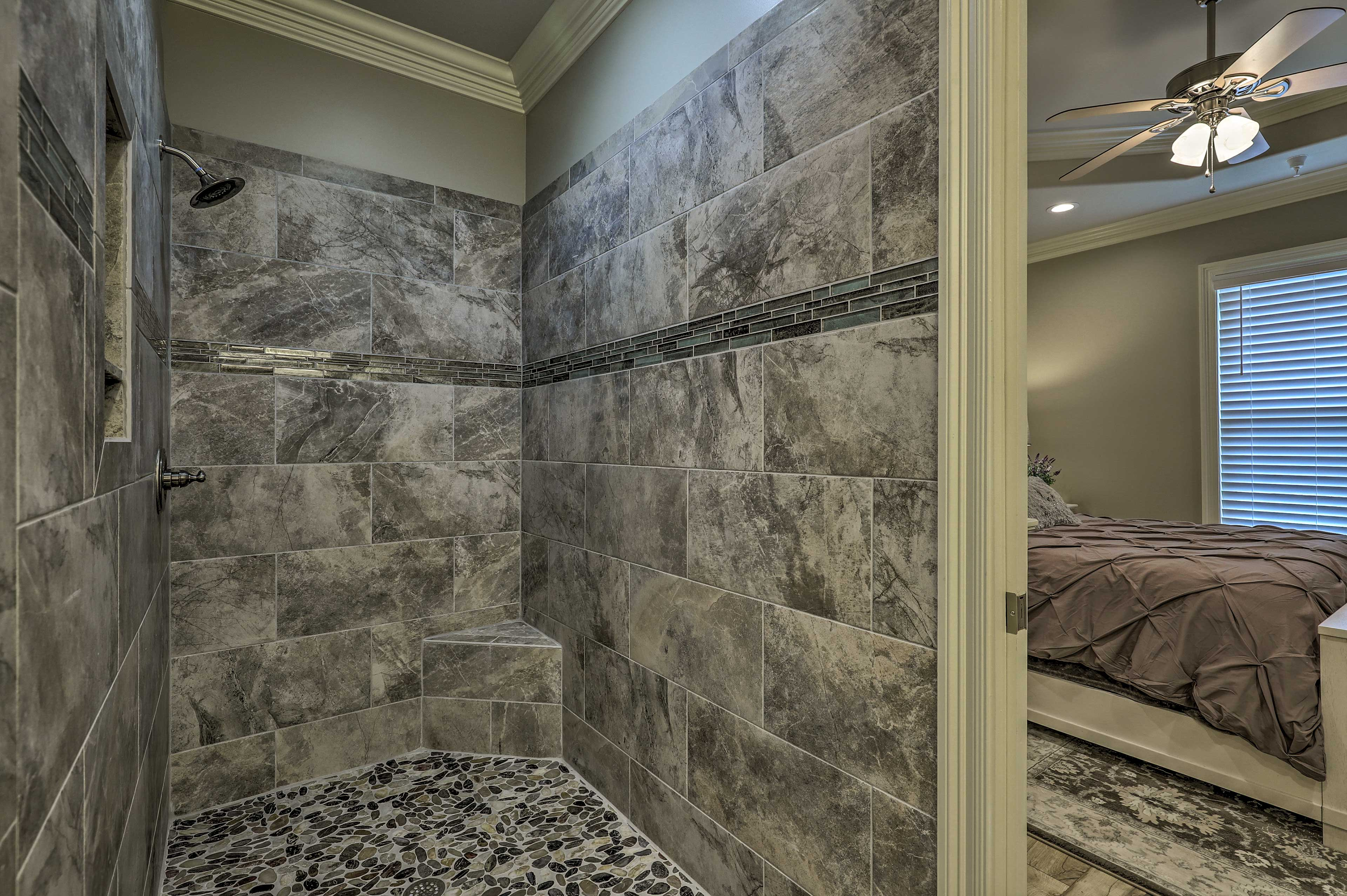Rinse off in this luxurious, doorless shower!