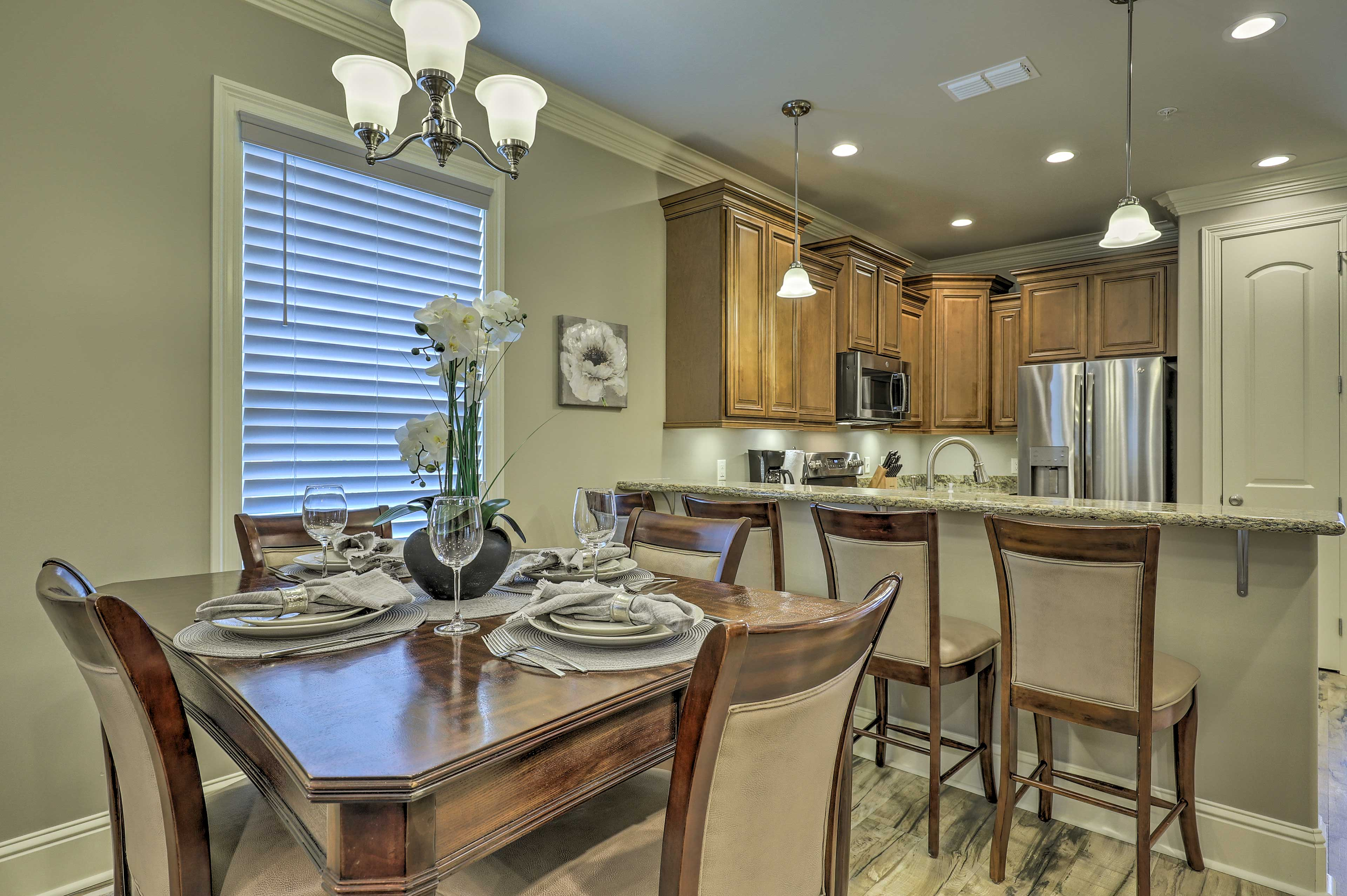 Enjoy home-cooked meals at the 4-person dining table.