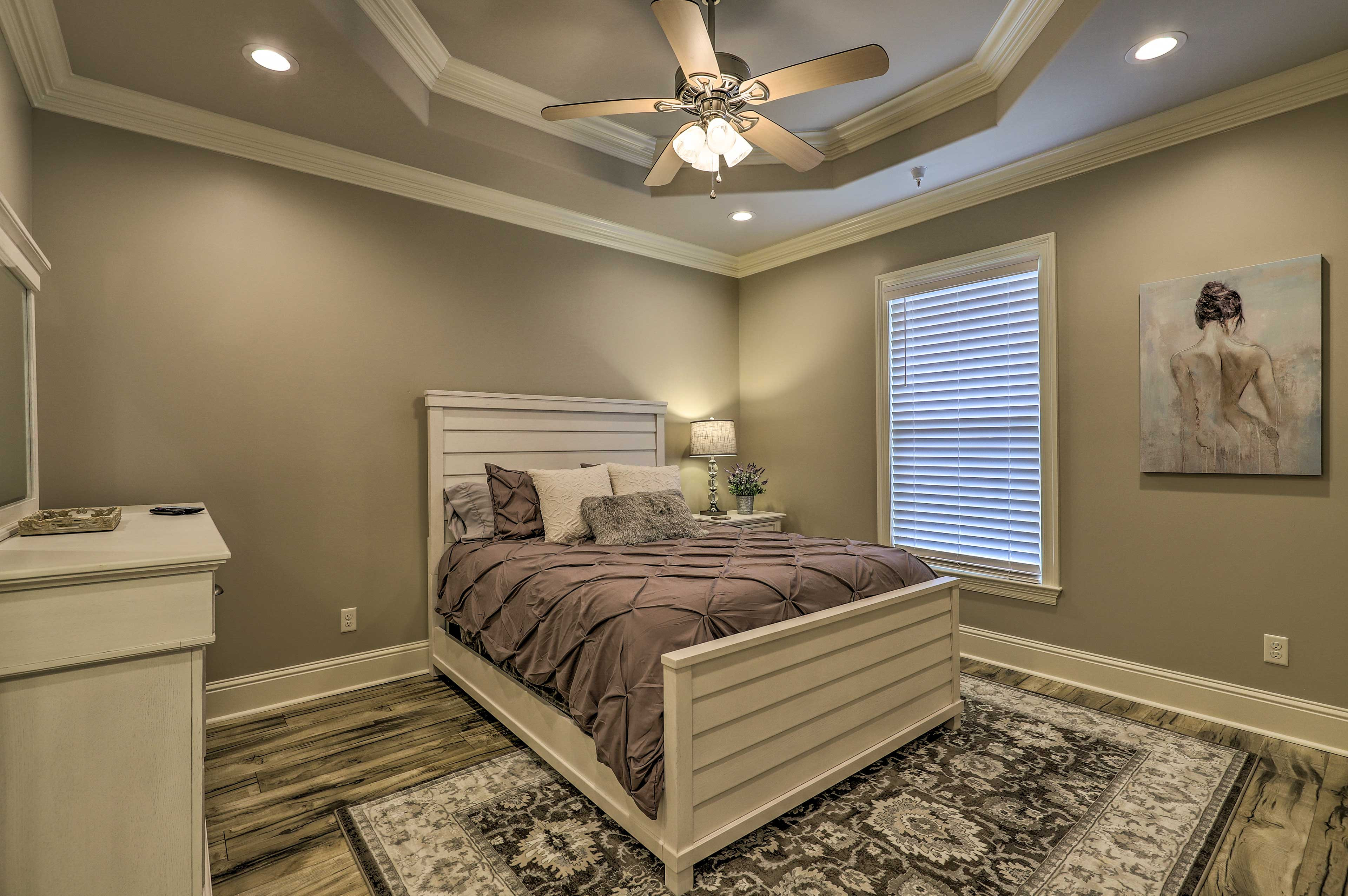 The master bedroom is perfect for 2 guests!