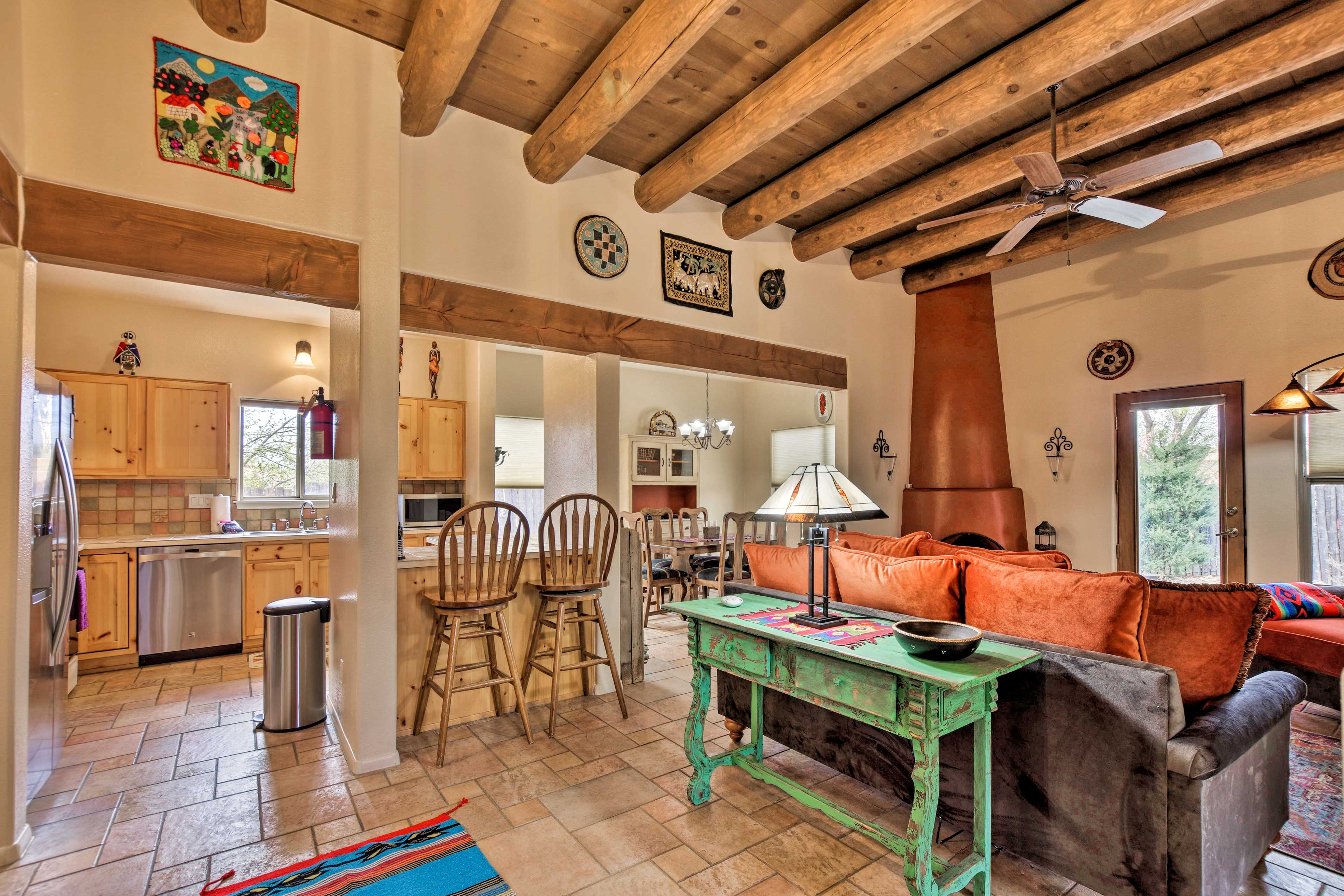 Book this adobe-style vacation rental house for your Santa Fe escape.