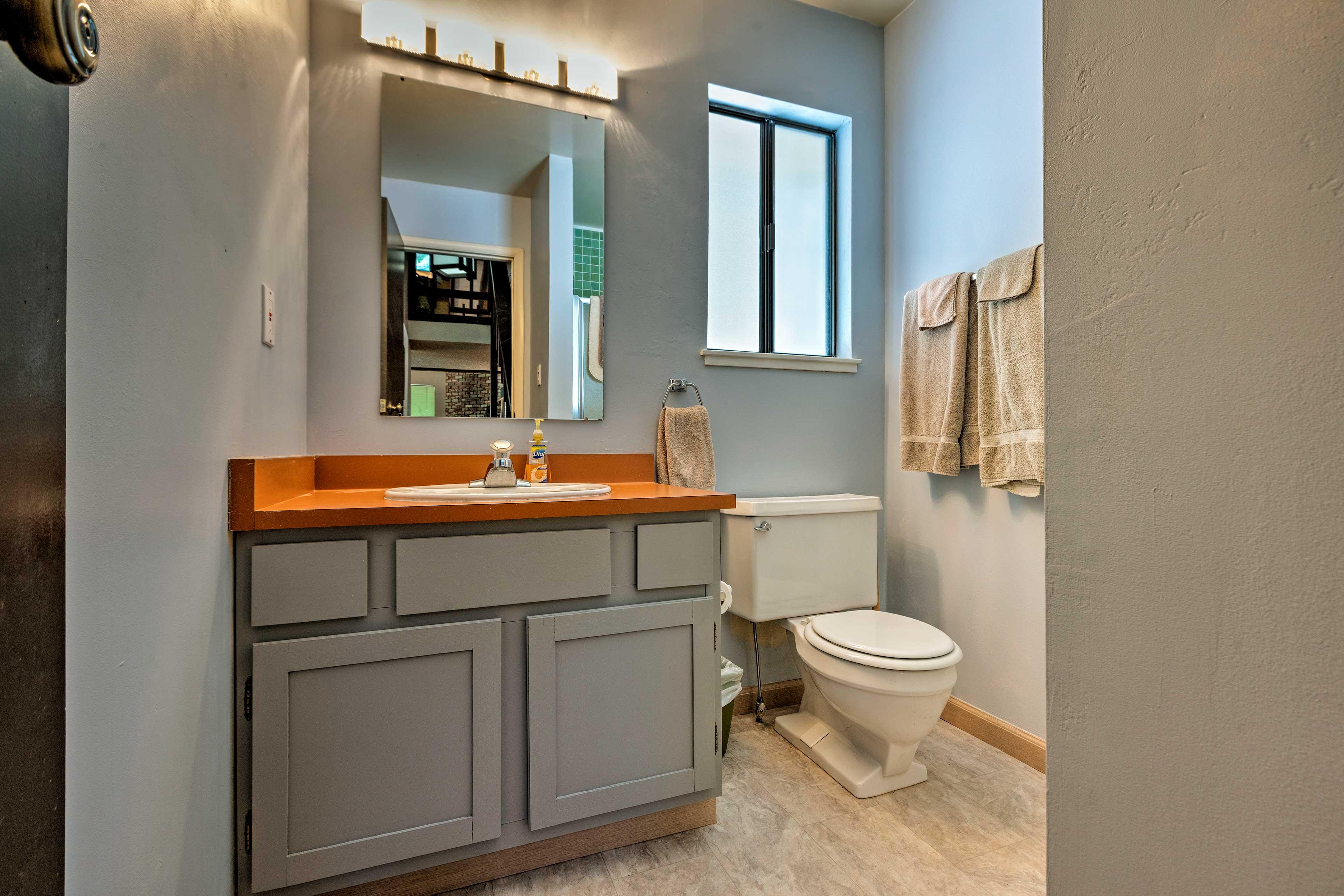 Rinse up in the half bathroom before dinner.