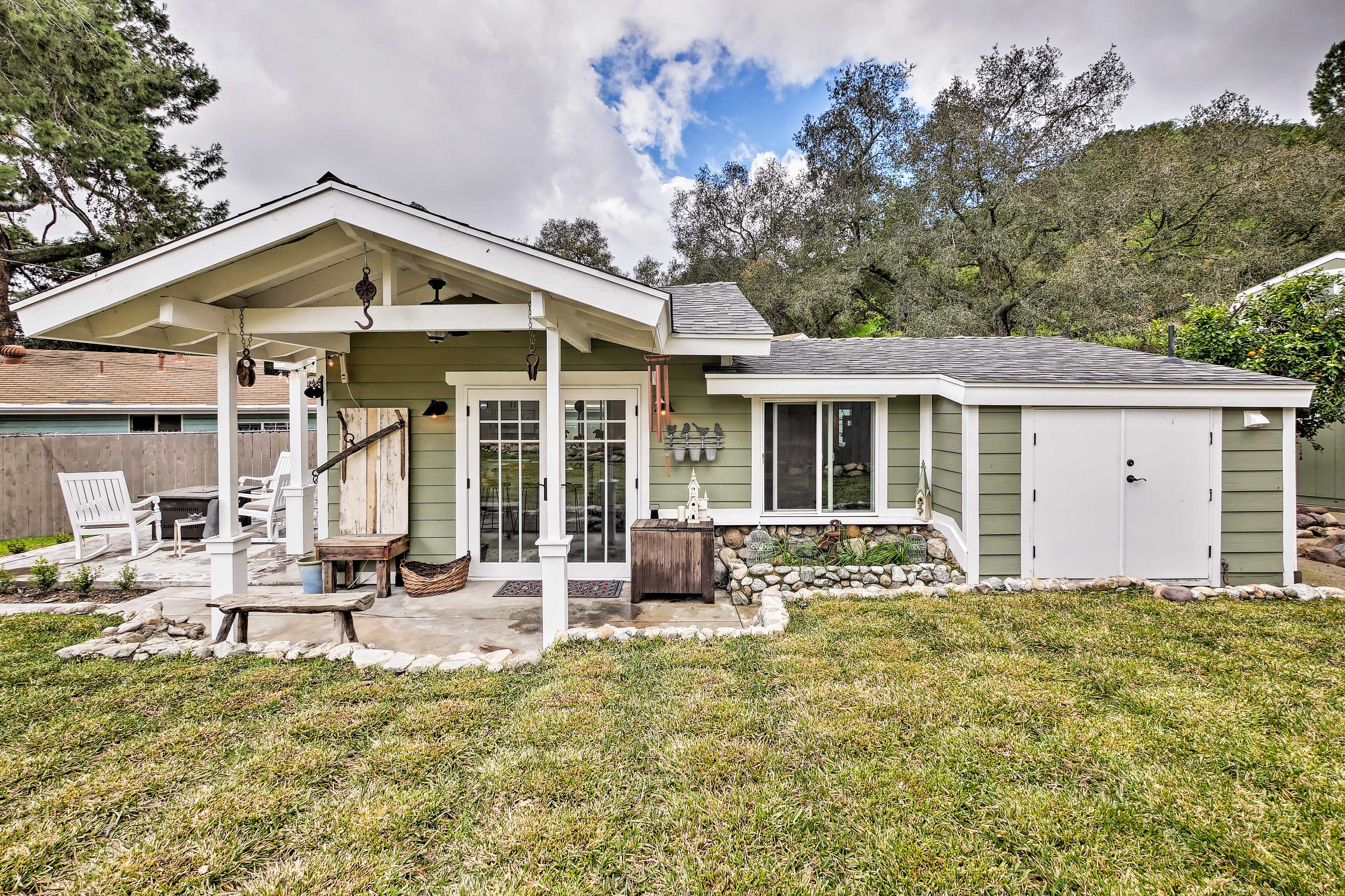 The Trabuco Canyon vacation rental features a landscaped yard.