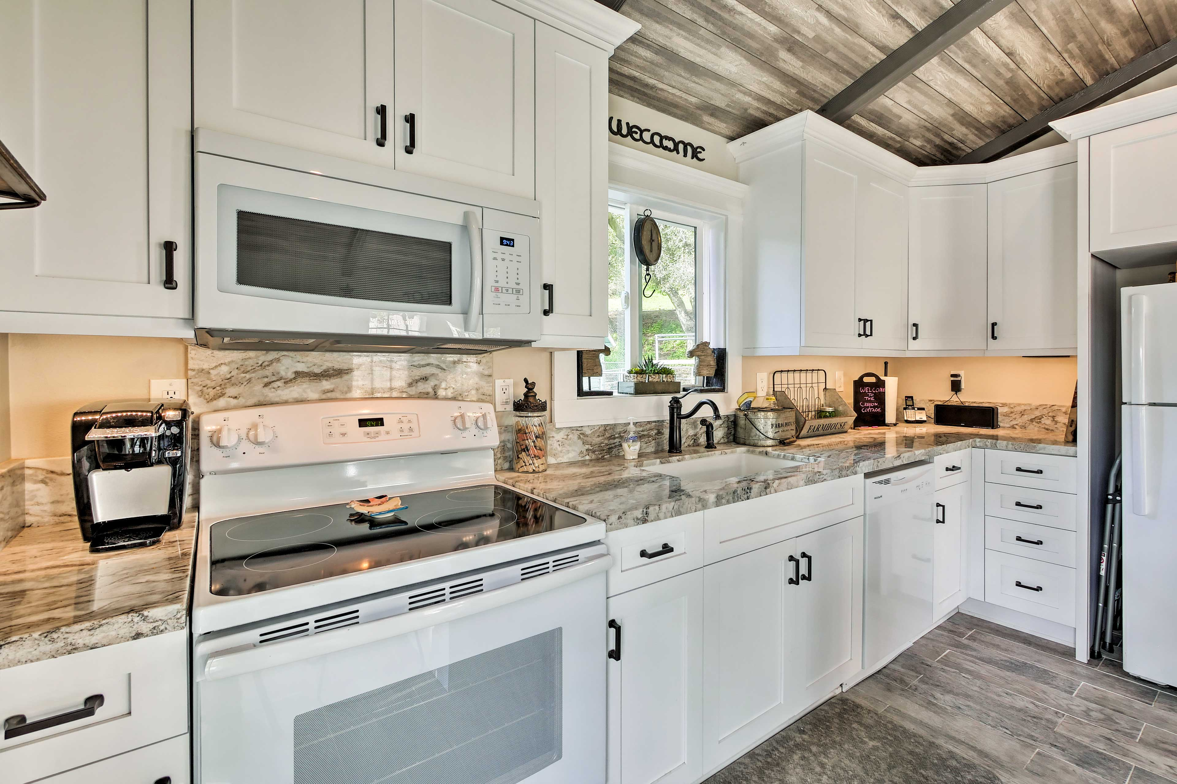 Prepare home-cooked favorites along the stone counters.