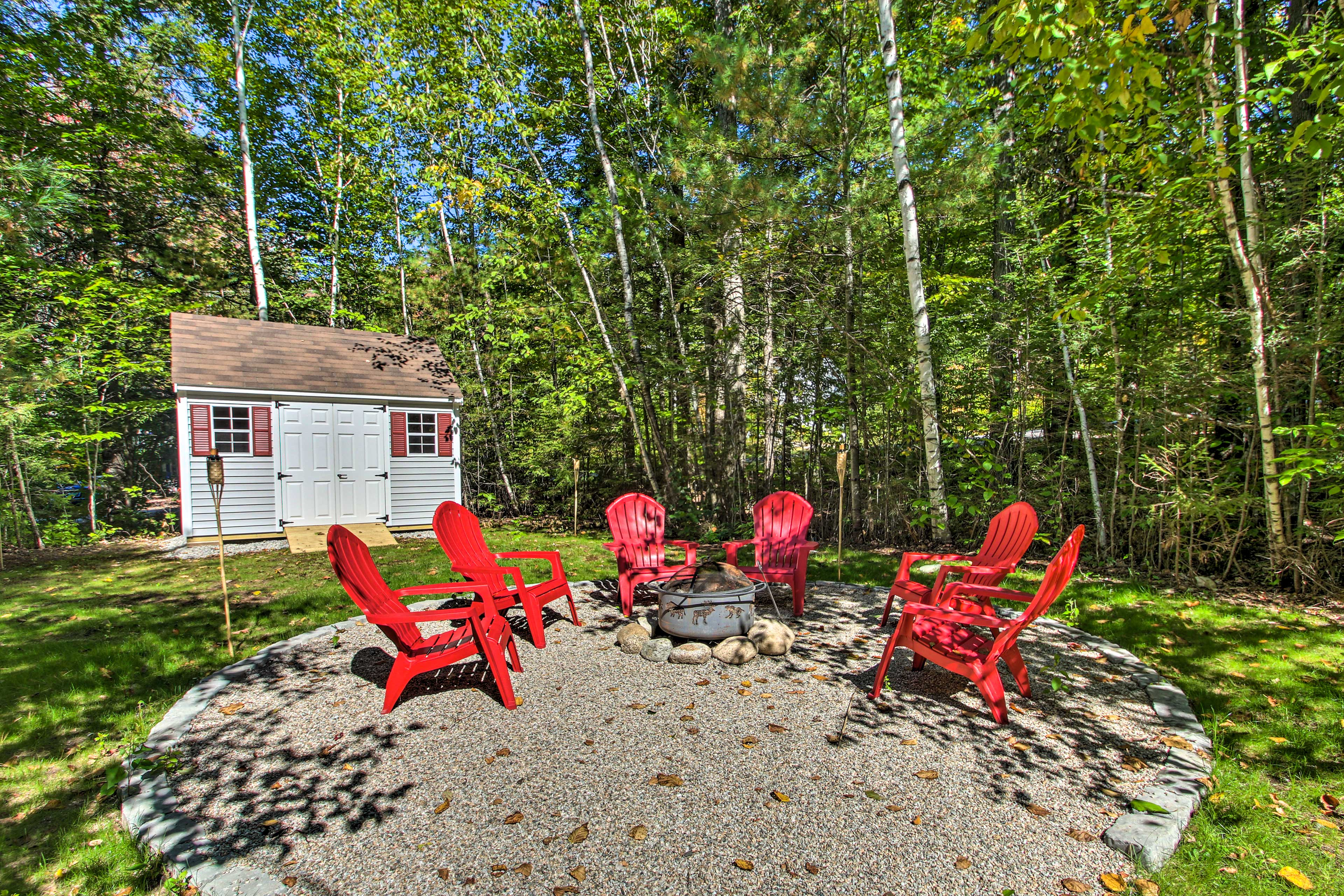 This vacation rental offers a brand-new fire pit.