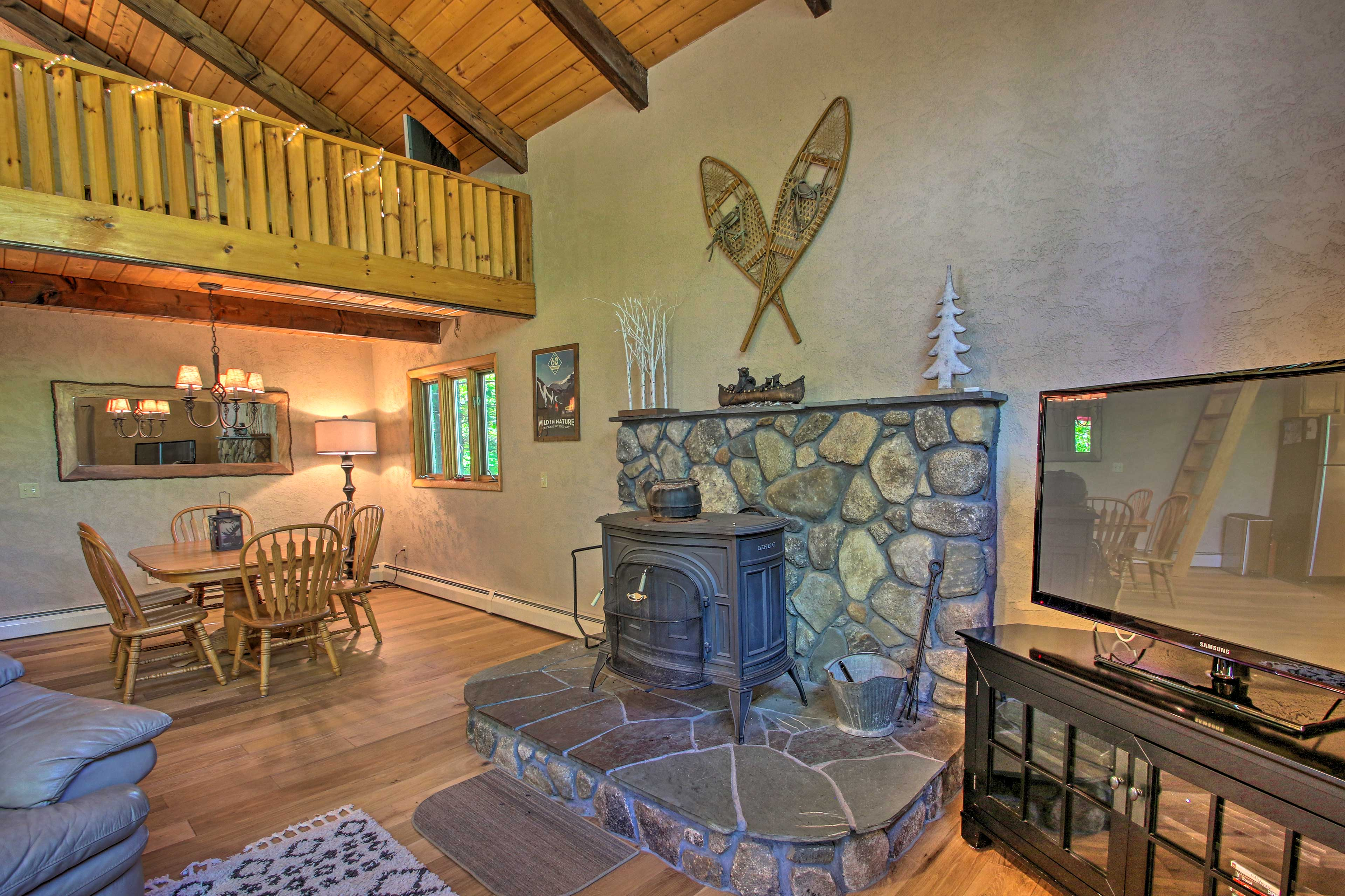 Watch your favorite shows on the flat-screen TV while the fire keeps you warm.