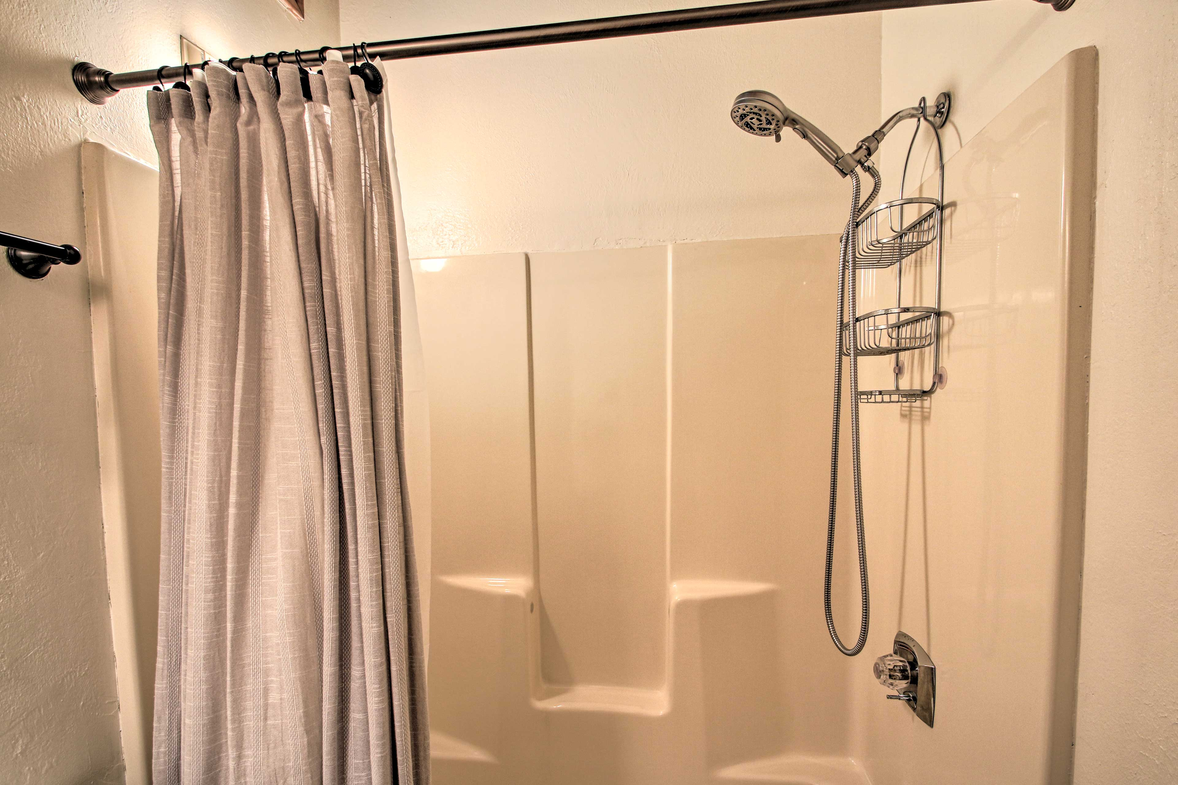 The new shower offers a detachable shower head.