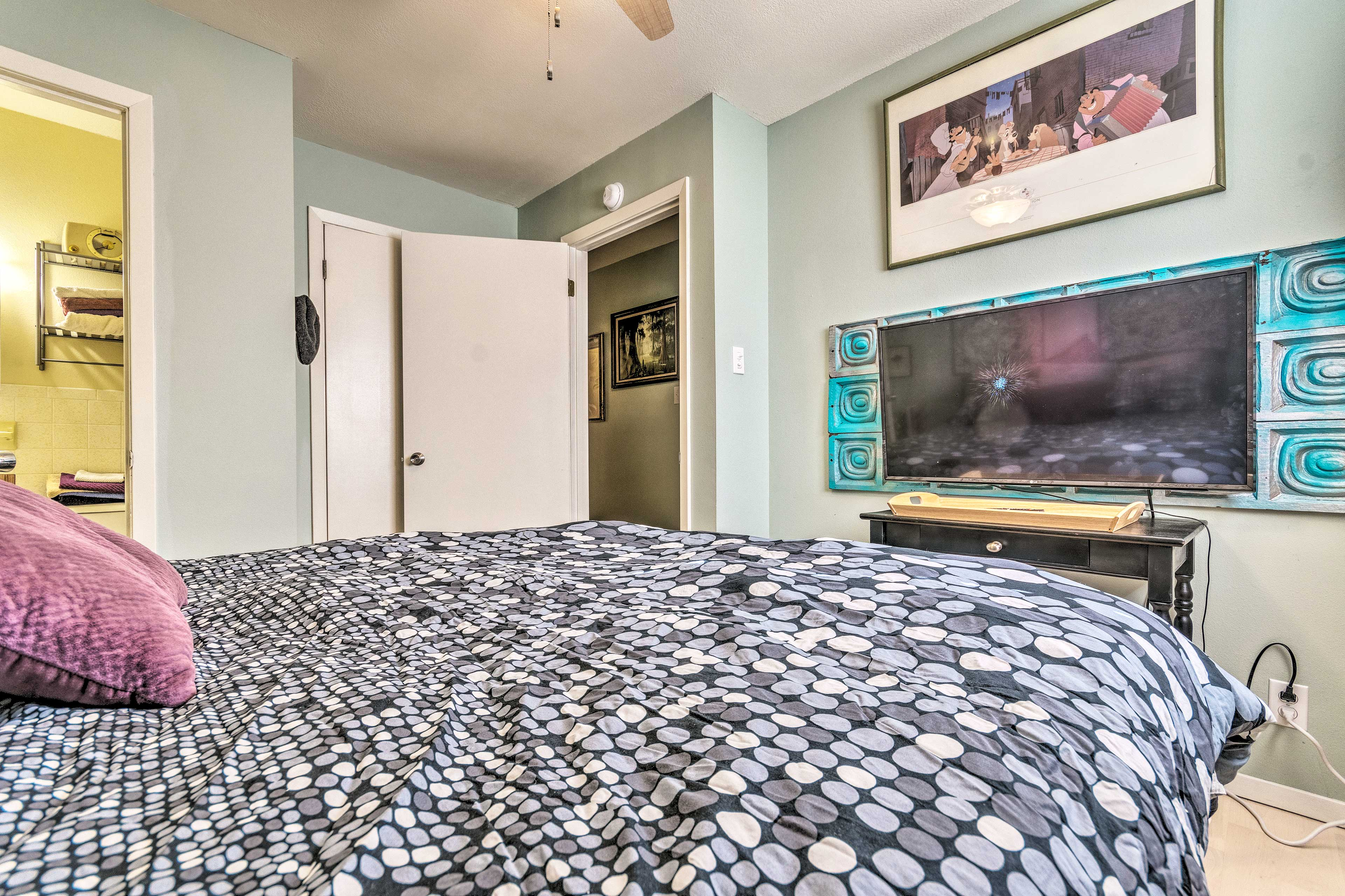 This bedroom also features a flat-screen Smart TV.