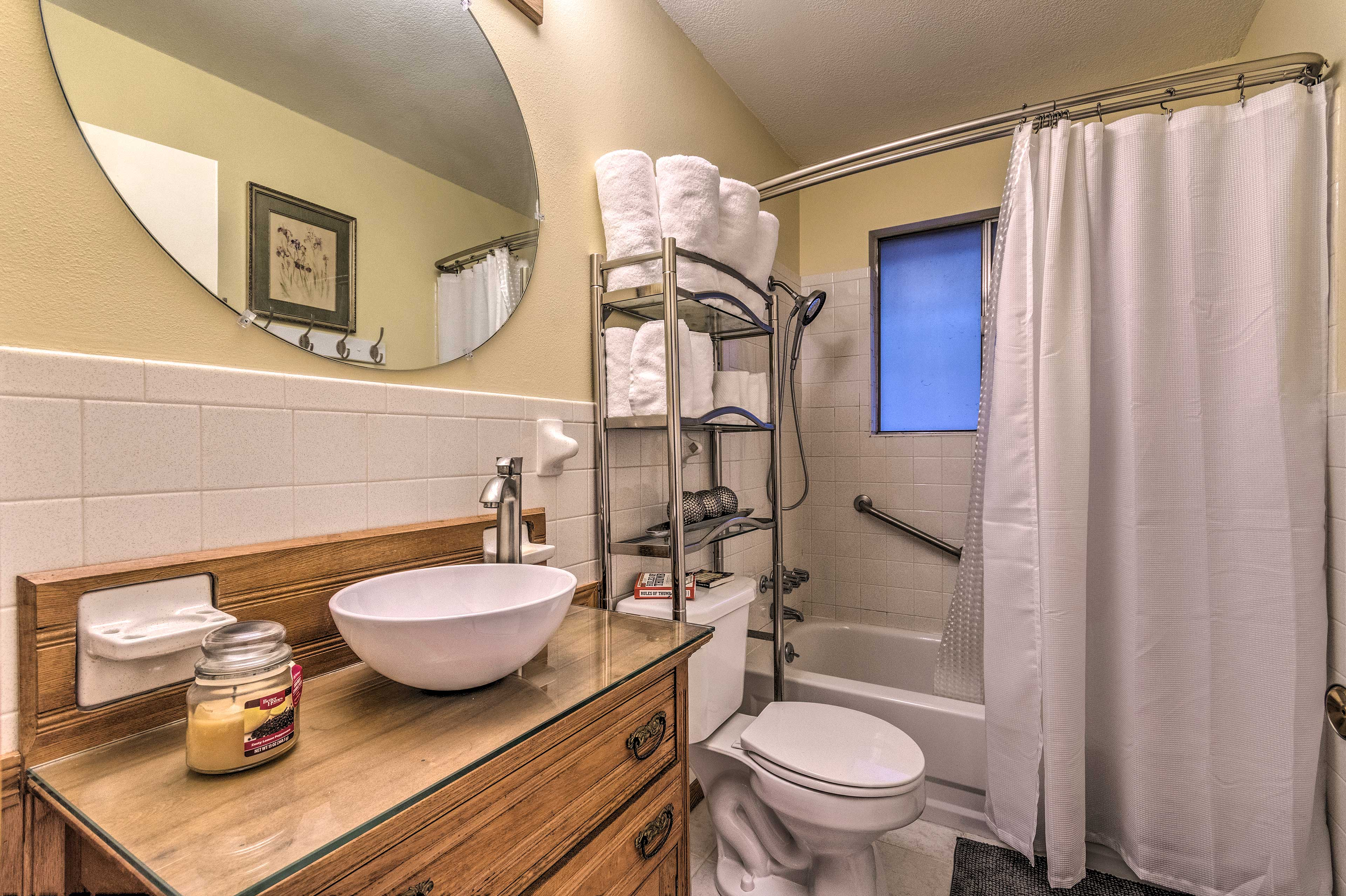 Freshen up in this elegant bathroom.