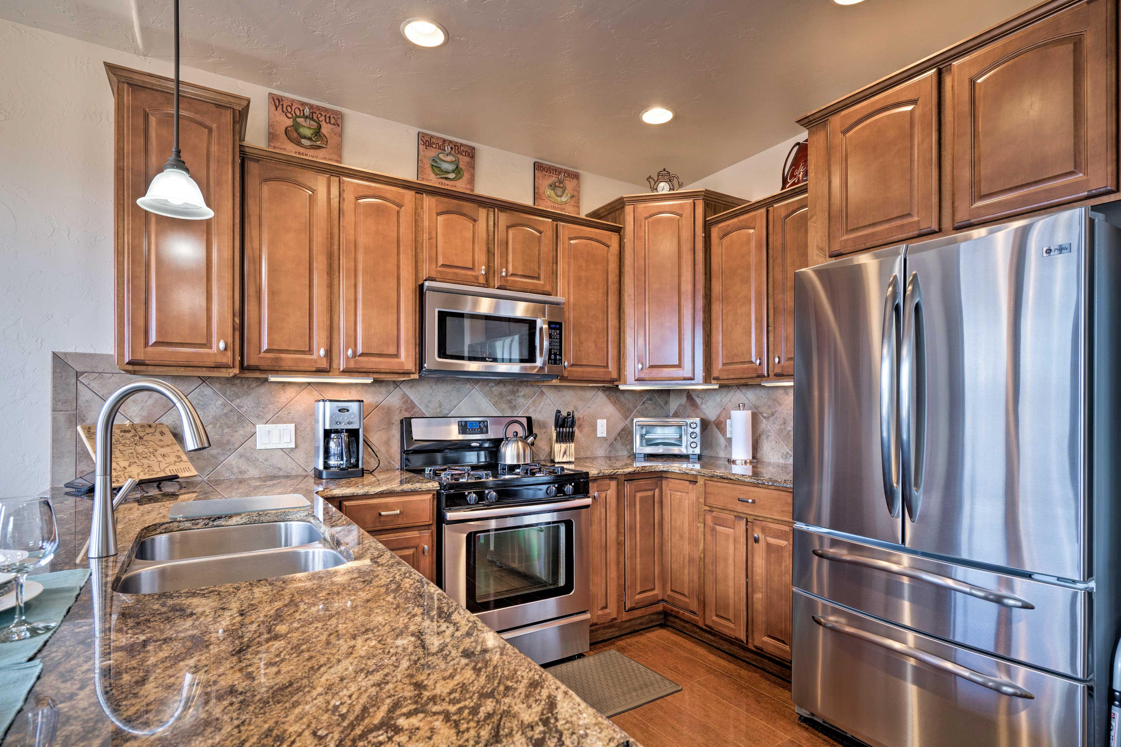 Utilize ample counter space while preparing homemade meals.