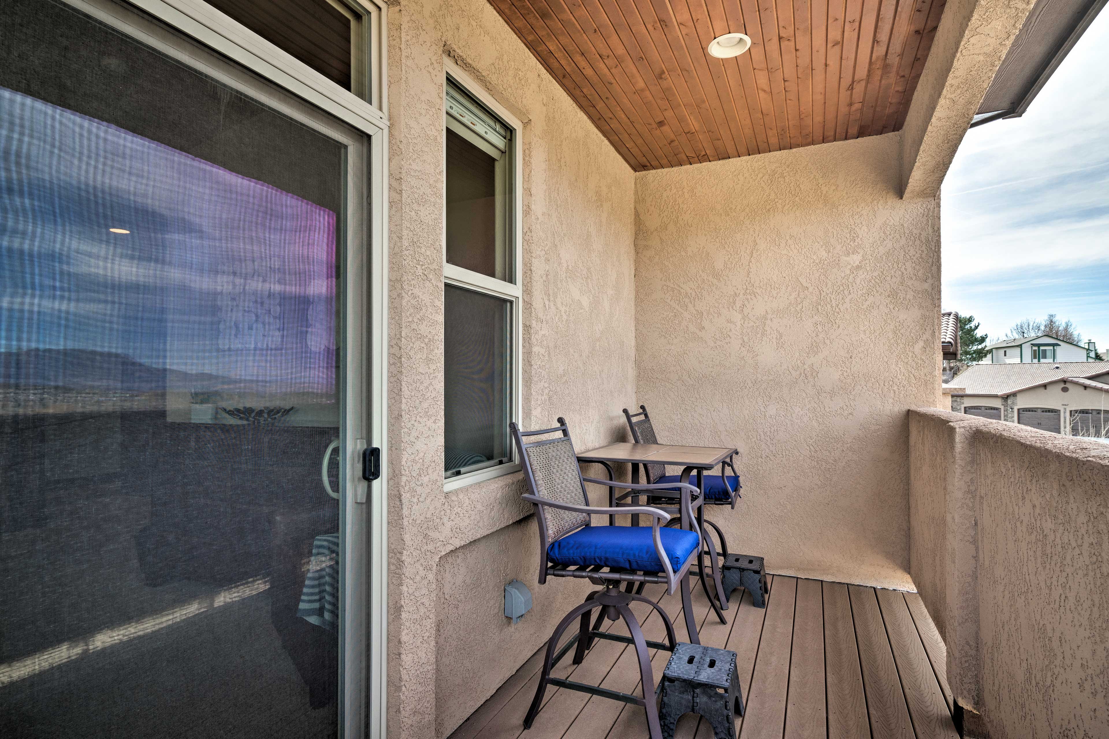 Roll out of bed and onto this patio for stunning early-morning views.