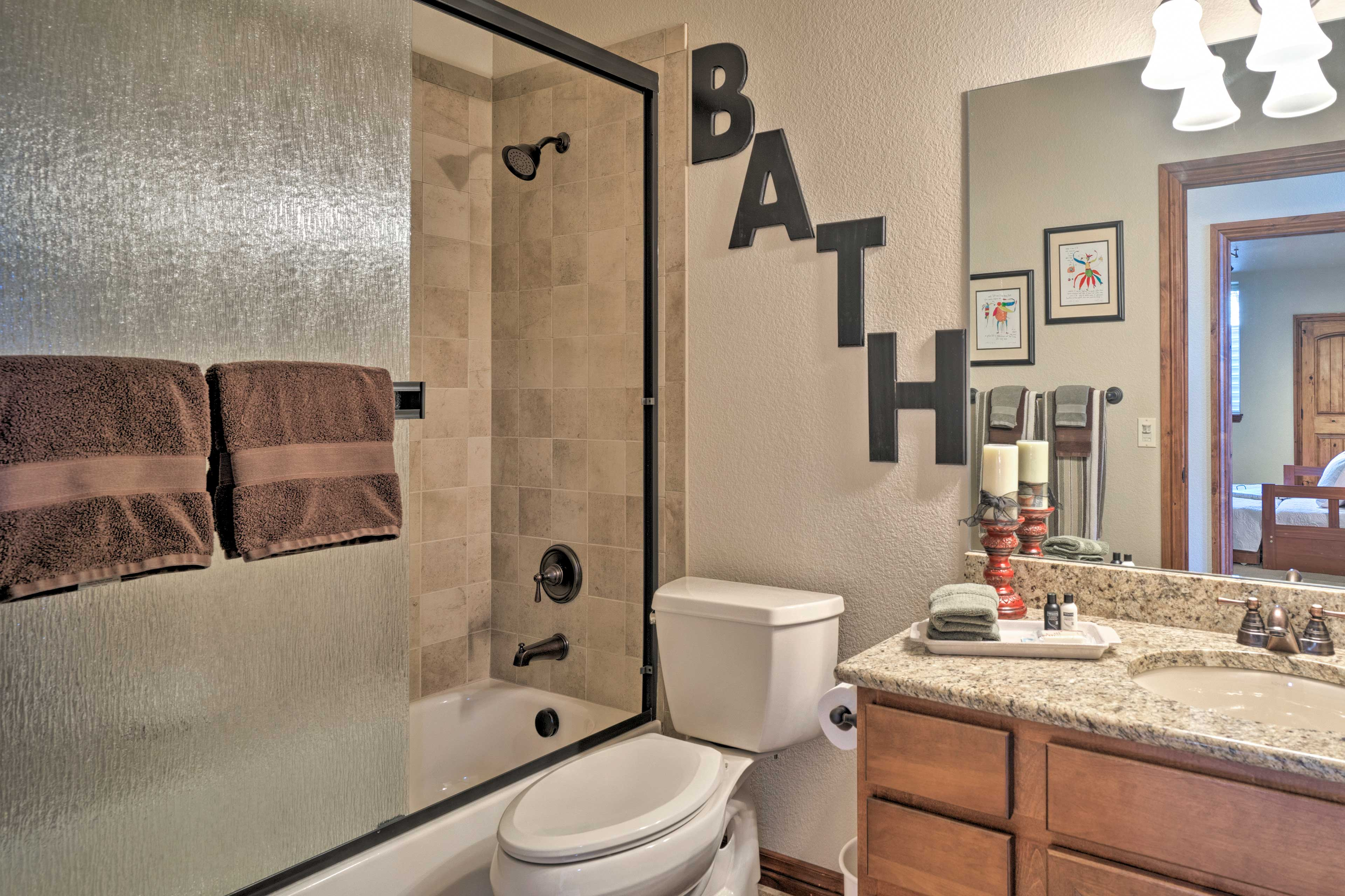 Rinse or soak in this shower/tub combo.