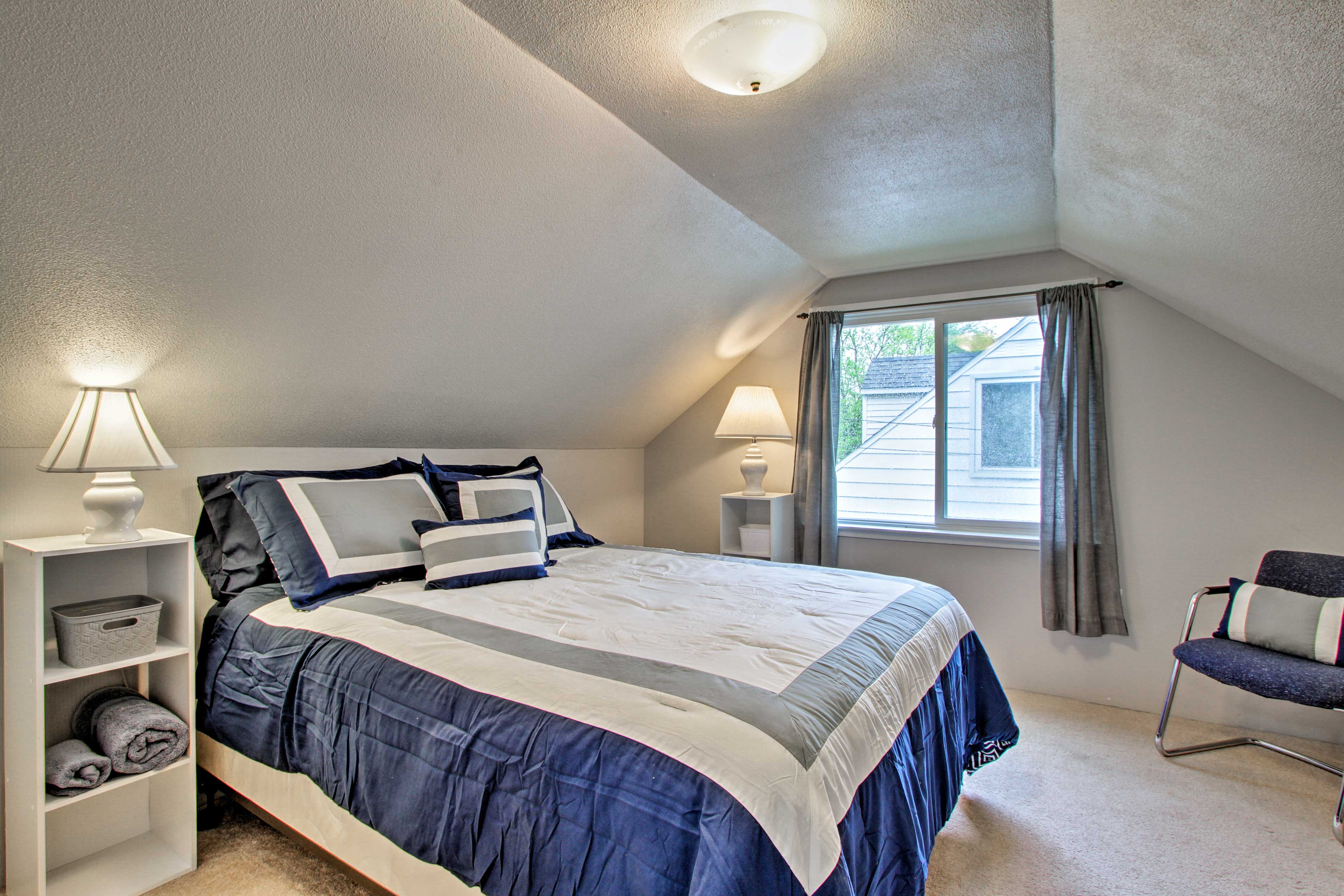 Head upstairs to access this bedroom.