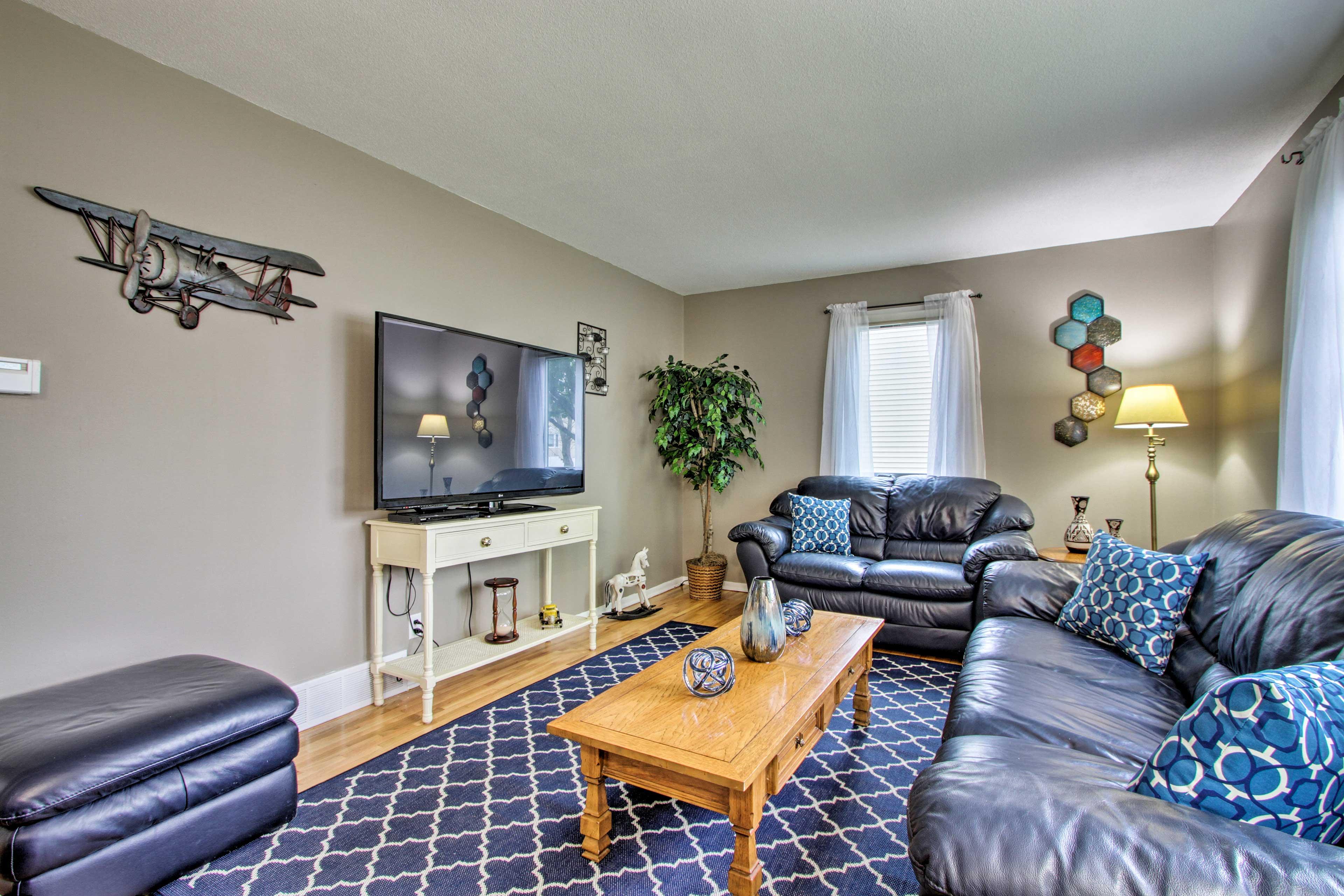 Your trip to Rochester begins by booking this 4-bedroom, 2-bath vacation rental.