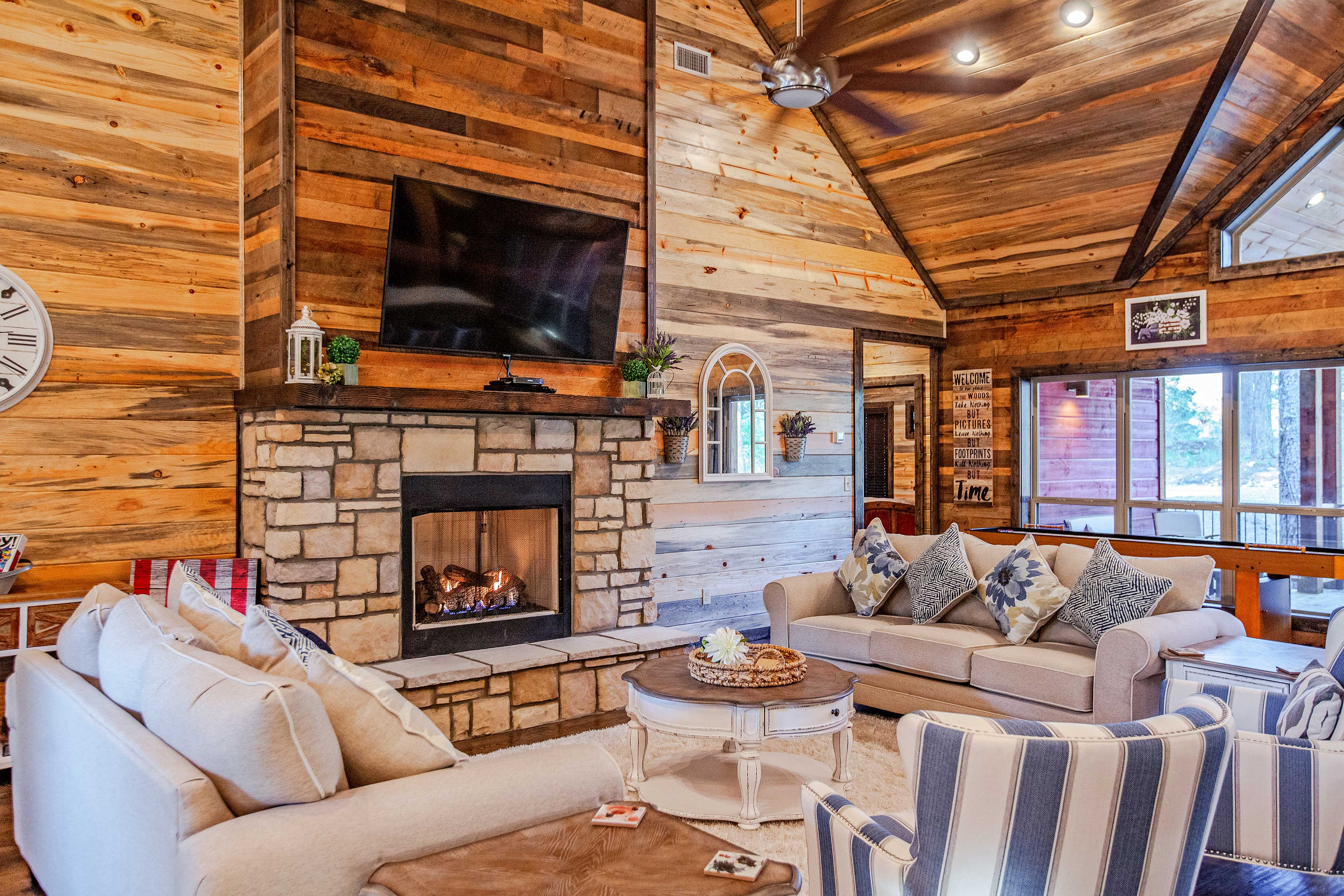 Cozy nights can be spent gathered around the gas fireplace.