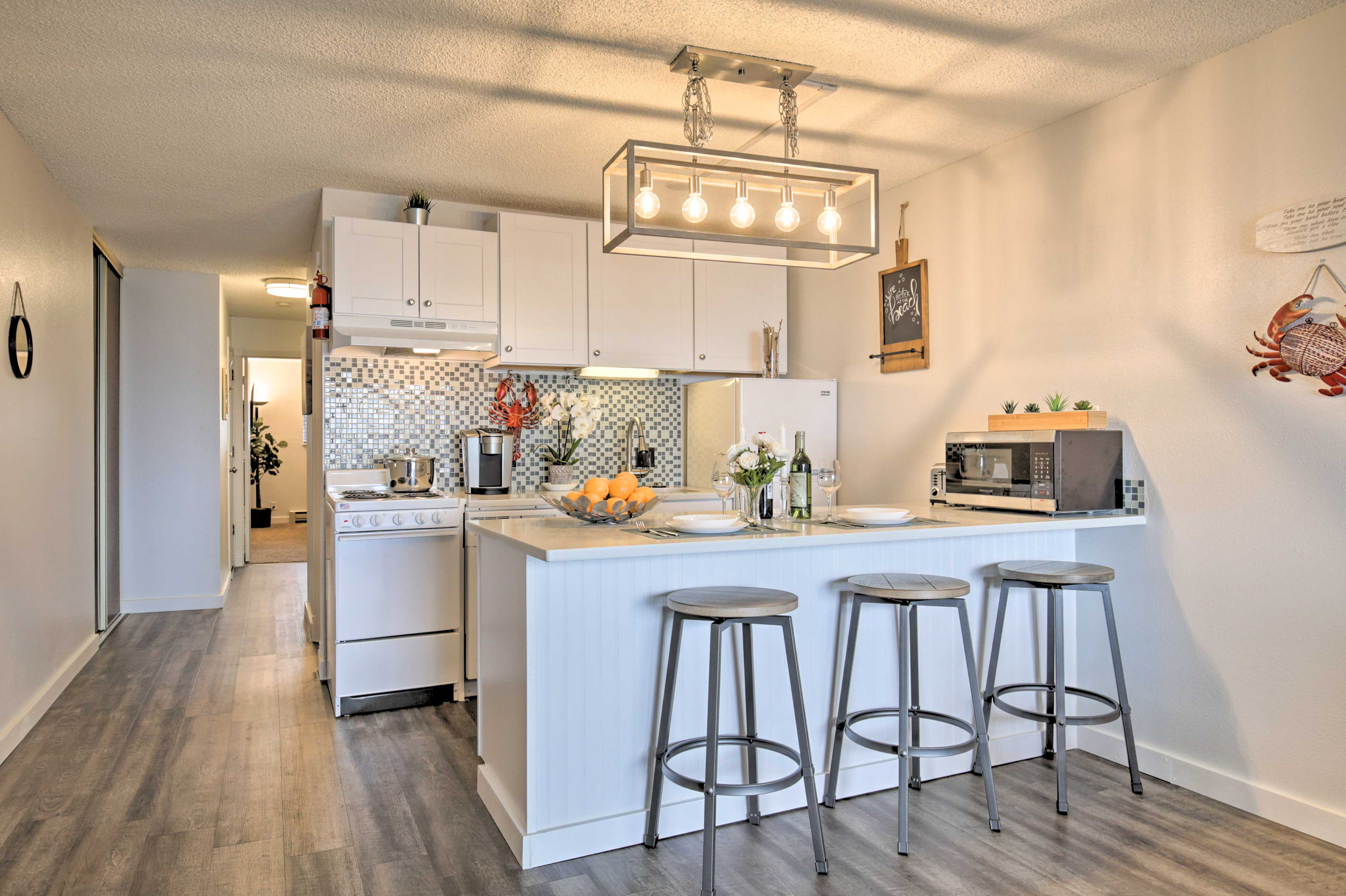 The 1-bedroom, 2-bath condo has been renovated to feature modern decor.