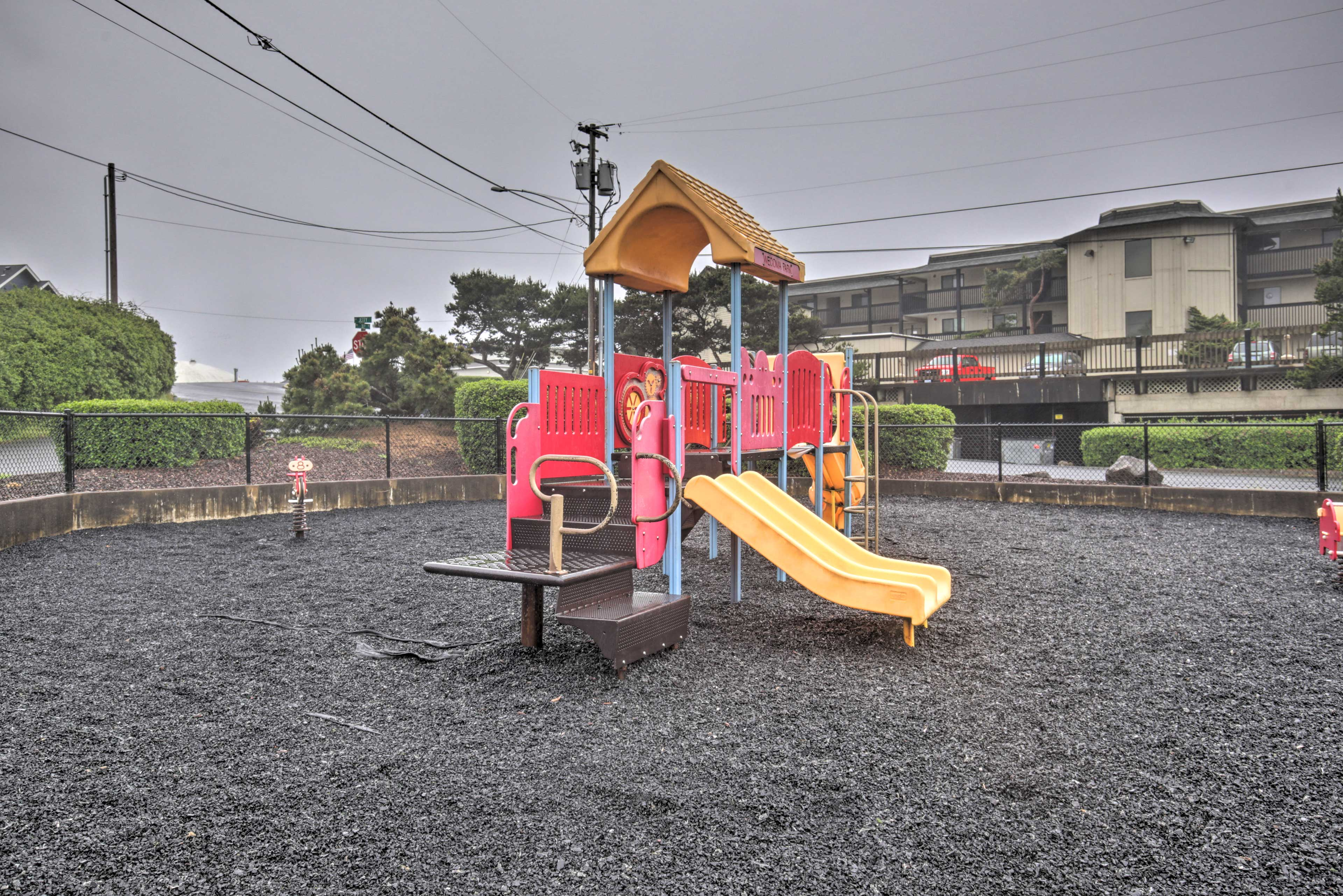 Kids will love monkeying around on the playground at the nearby park!