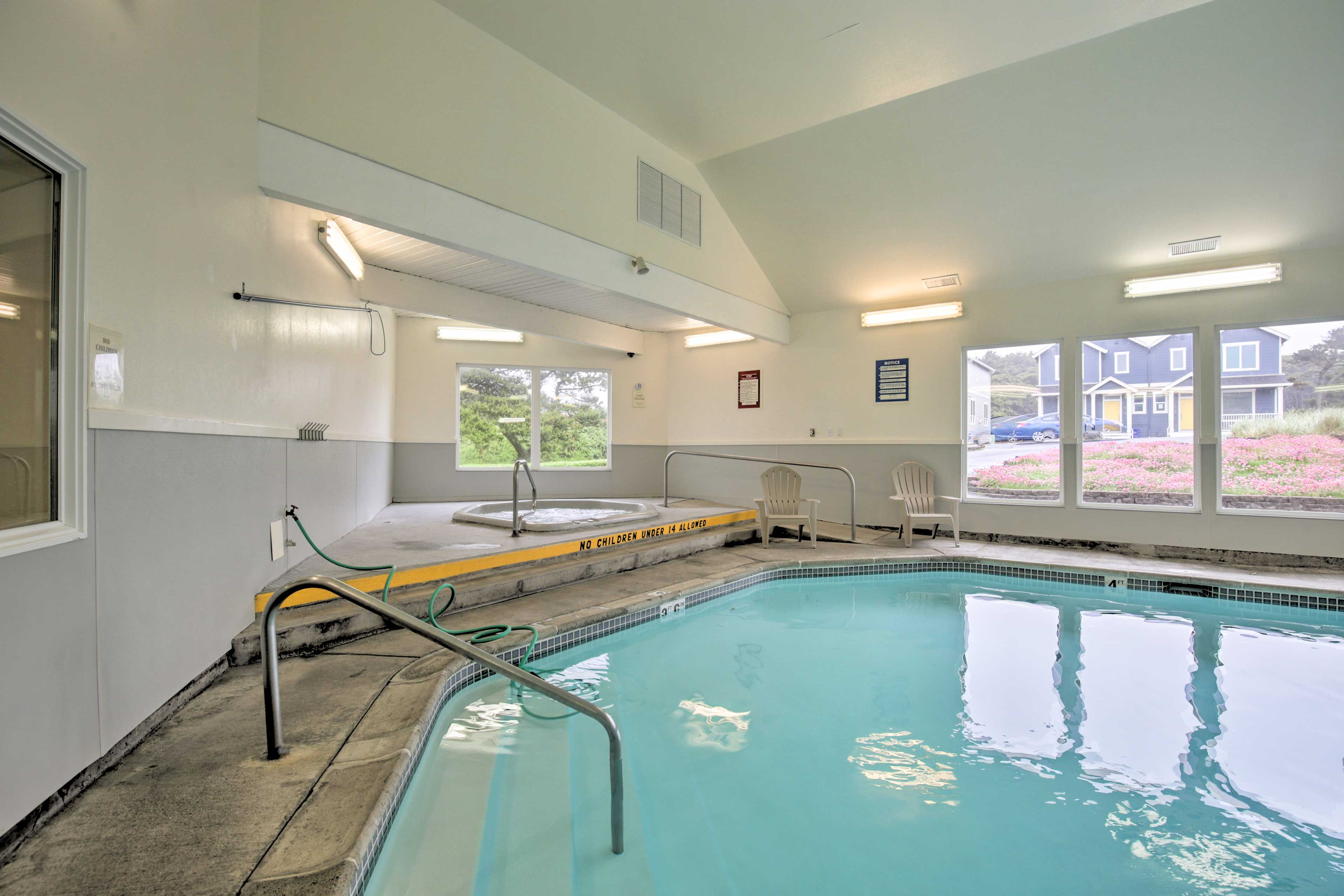 Spend afternoons splashing in the indoor pool & spa.