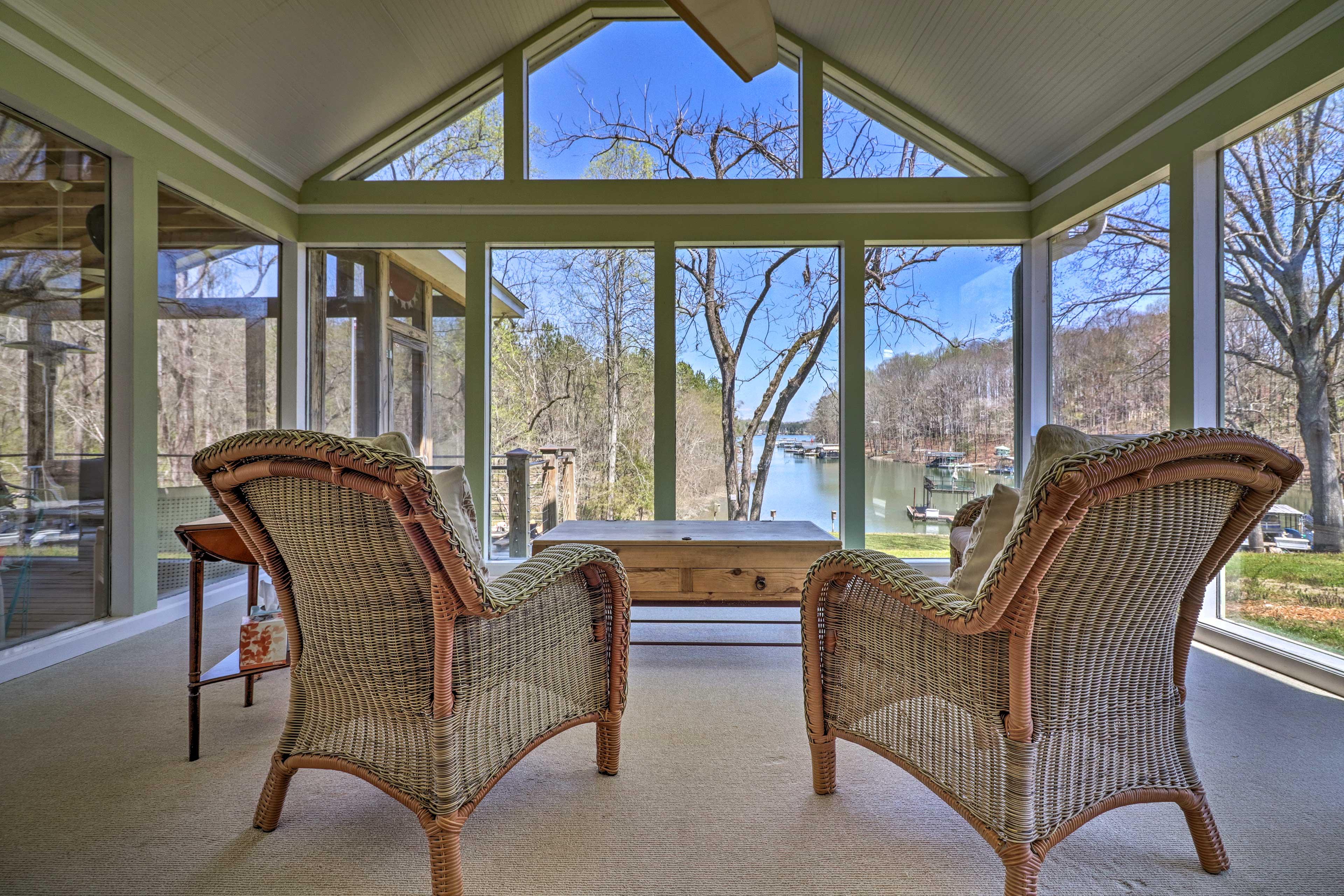 Waterfront views await at this Dawsonville vacation rental on Lake Lanier.