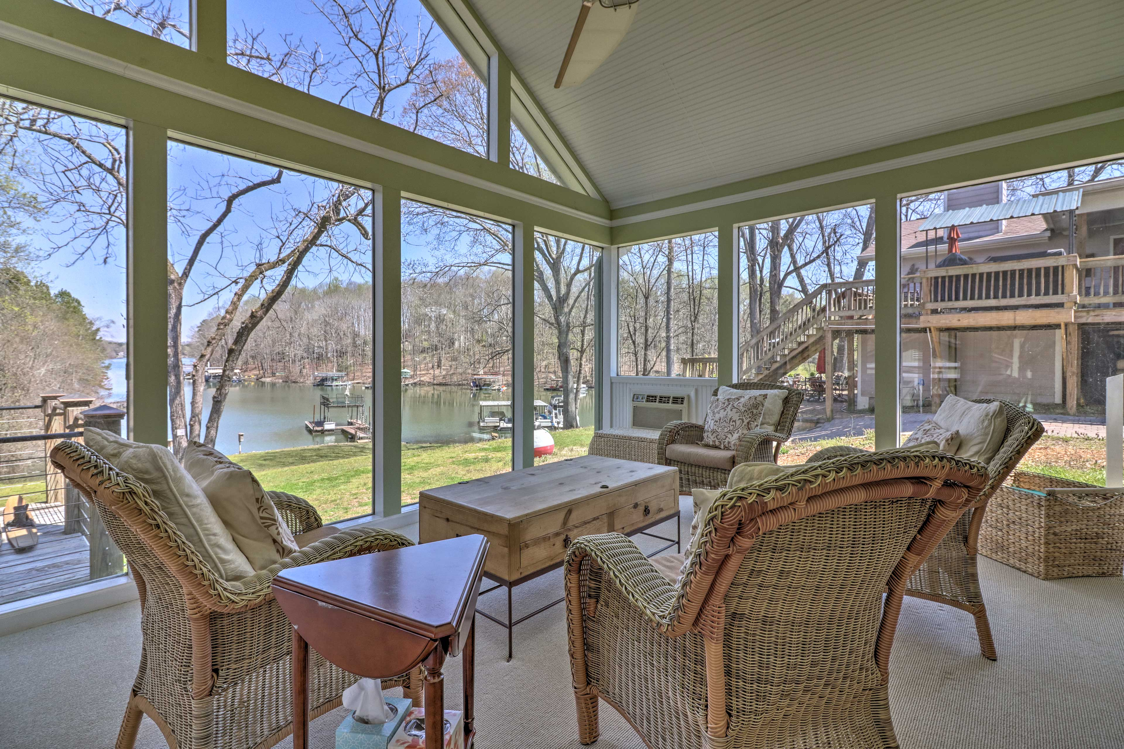 Soak in the scenic waterfront views from one of the chairs.