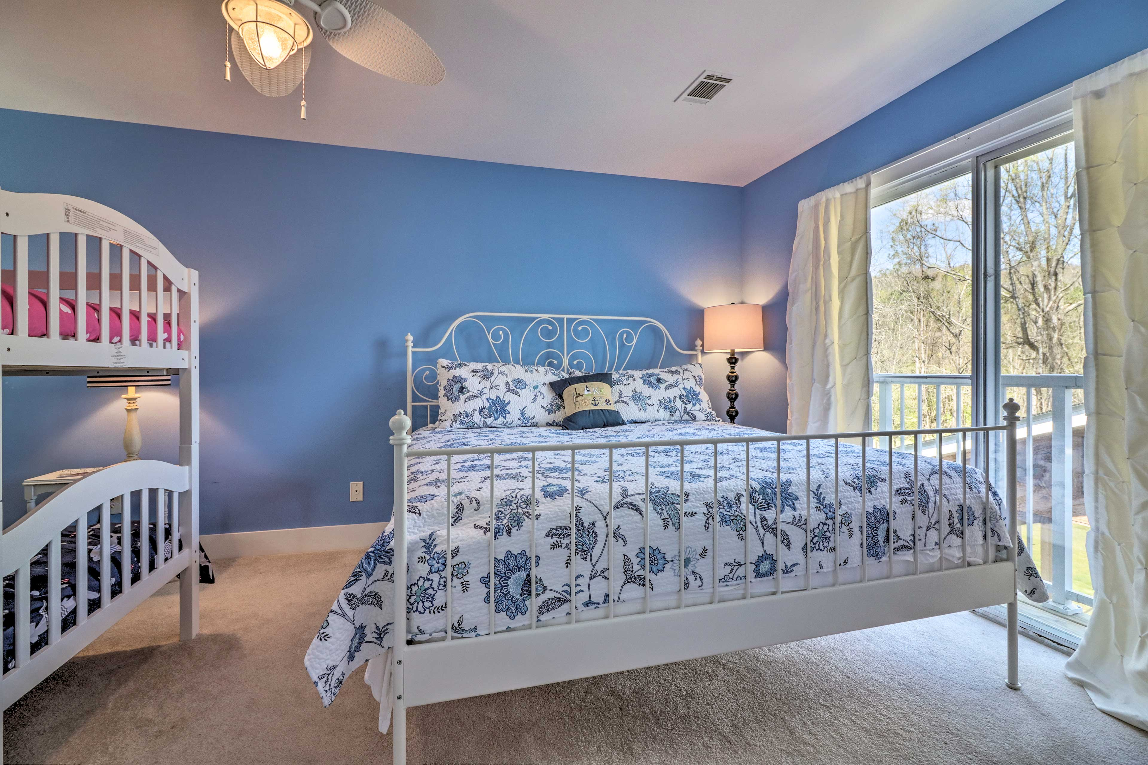 This bedroom is perfect for a family or group of children.