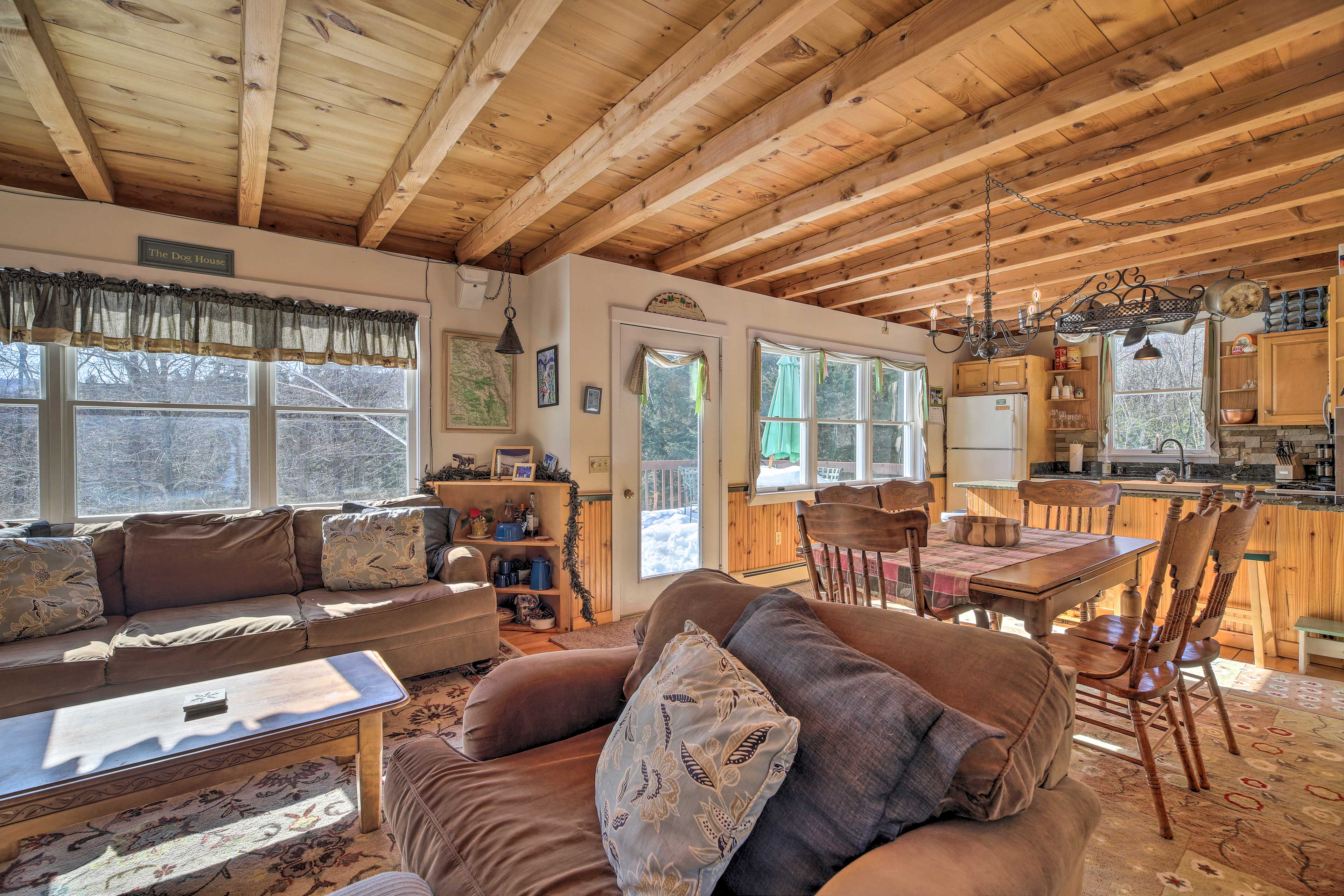 The comfortable home features bright natural light and cozy seating.