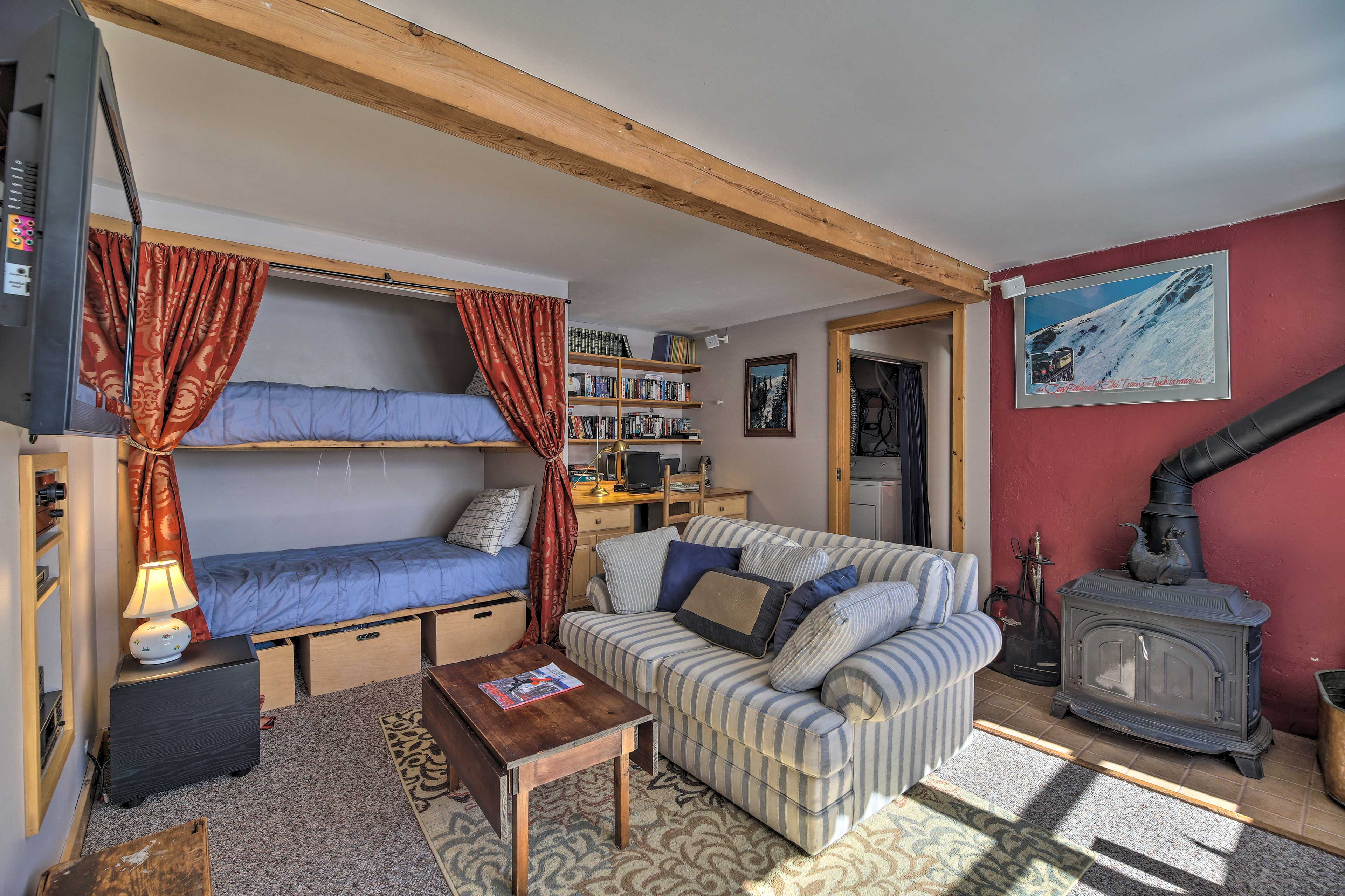 A twin bunk bed and desk area complete the room.