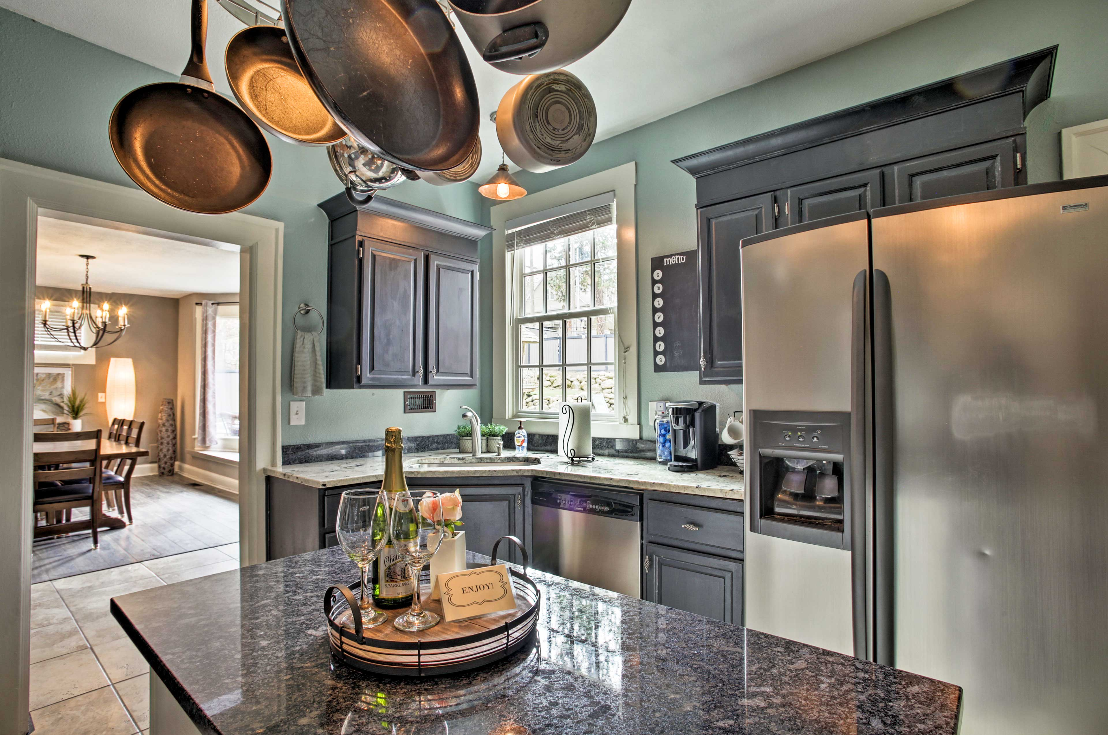 This space is fully equipped with stainless steel appliances.