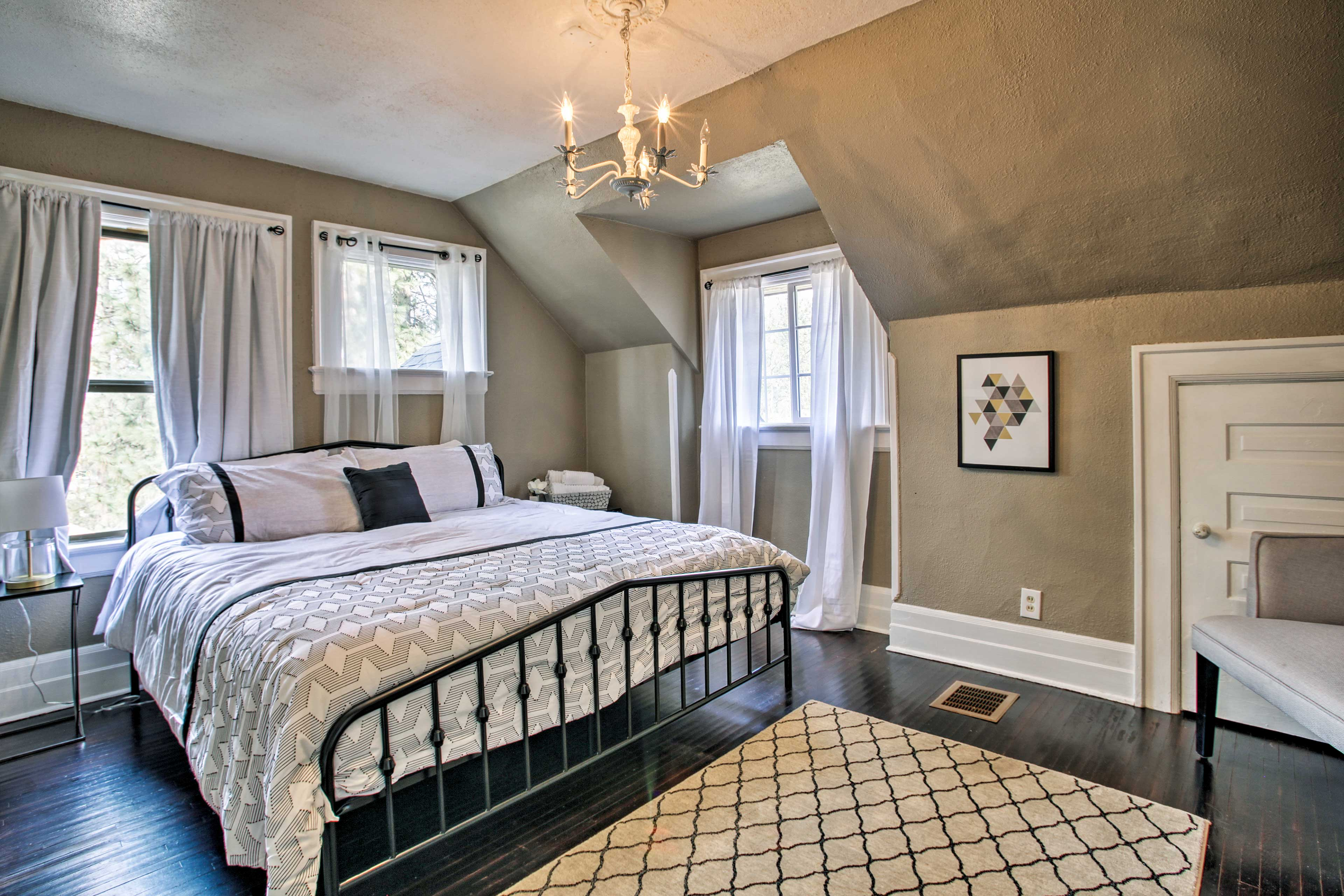 This bedroom features a king bed as well..