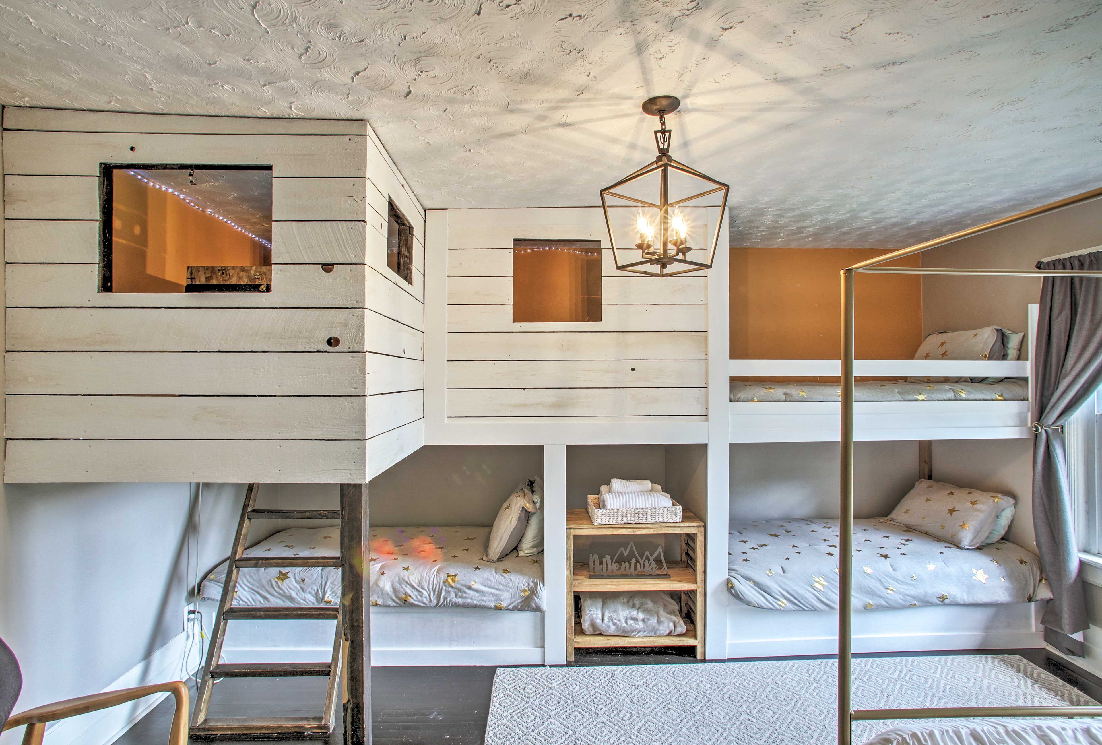 The kids are guaranteed to love the sweet bunk room!