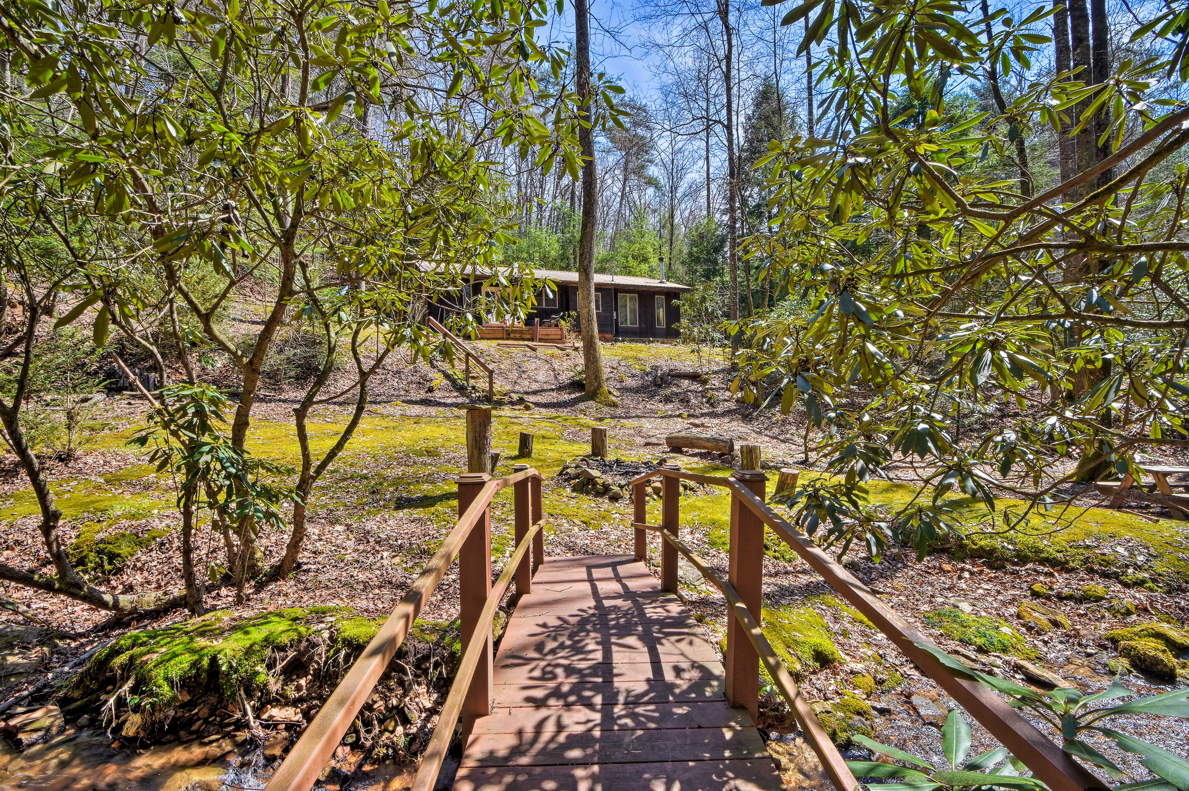 Find bridges, creeks, a fire pit, hammock & more in this outdoor oasis!