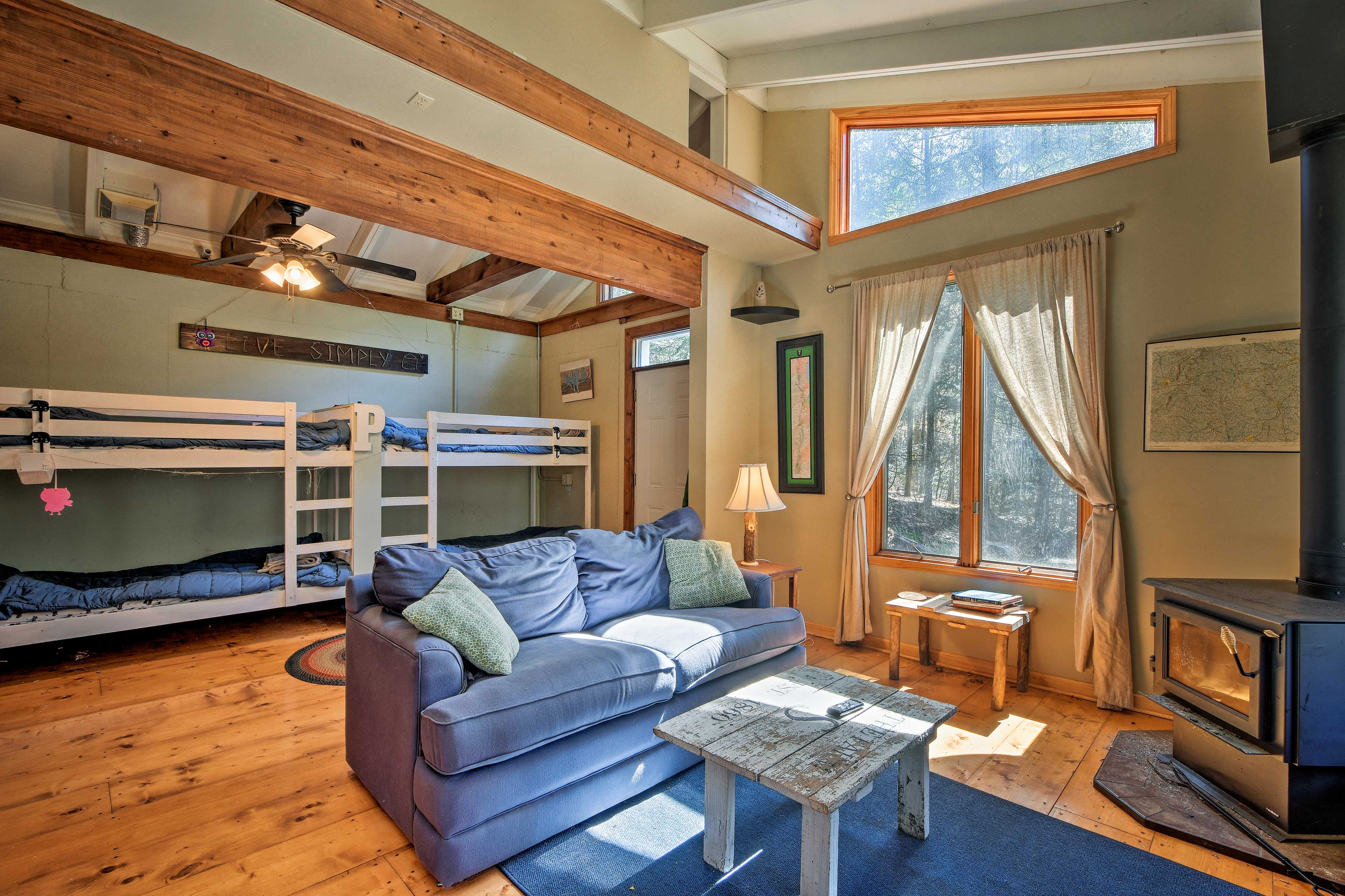 The cabin's open layout allows your entire group to come together on your trip.