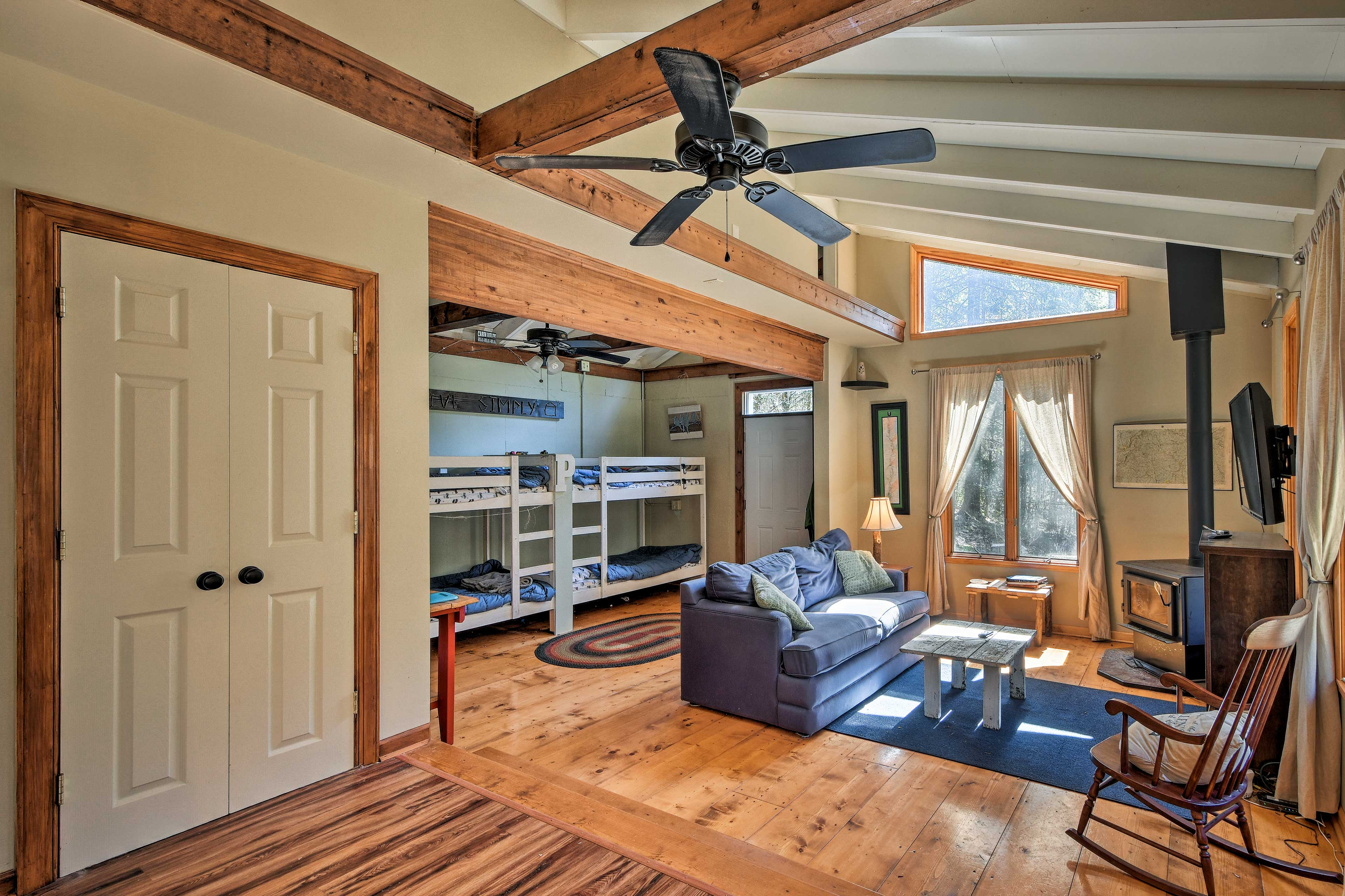 High vaulted ceilings create an open, airy atmosphere.