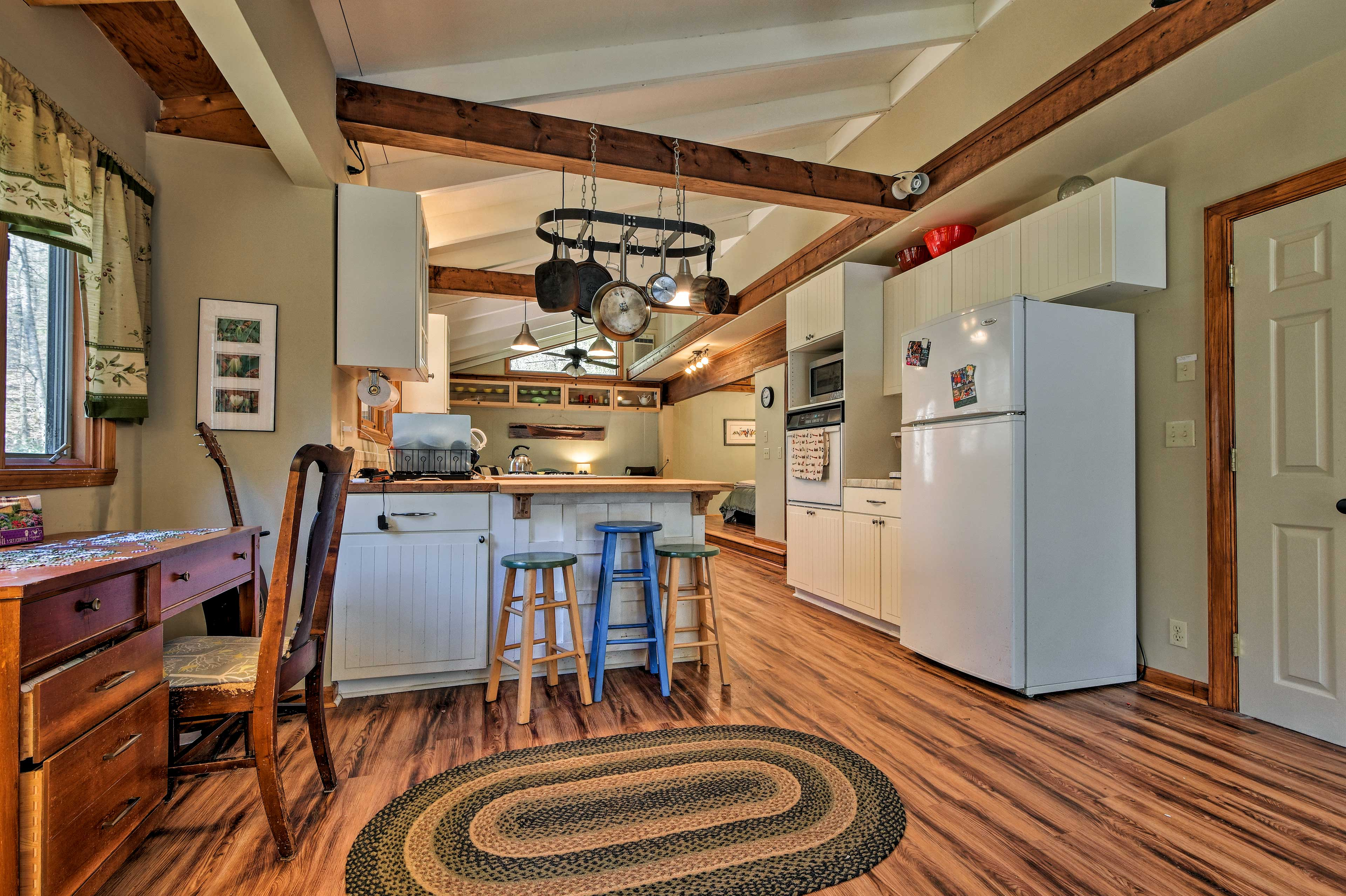 The living space flows right into the kitchen and dining area!