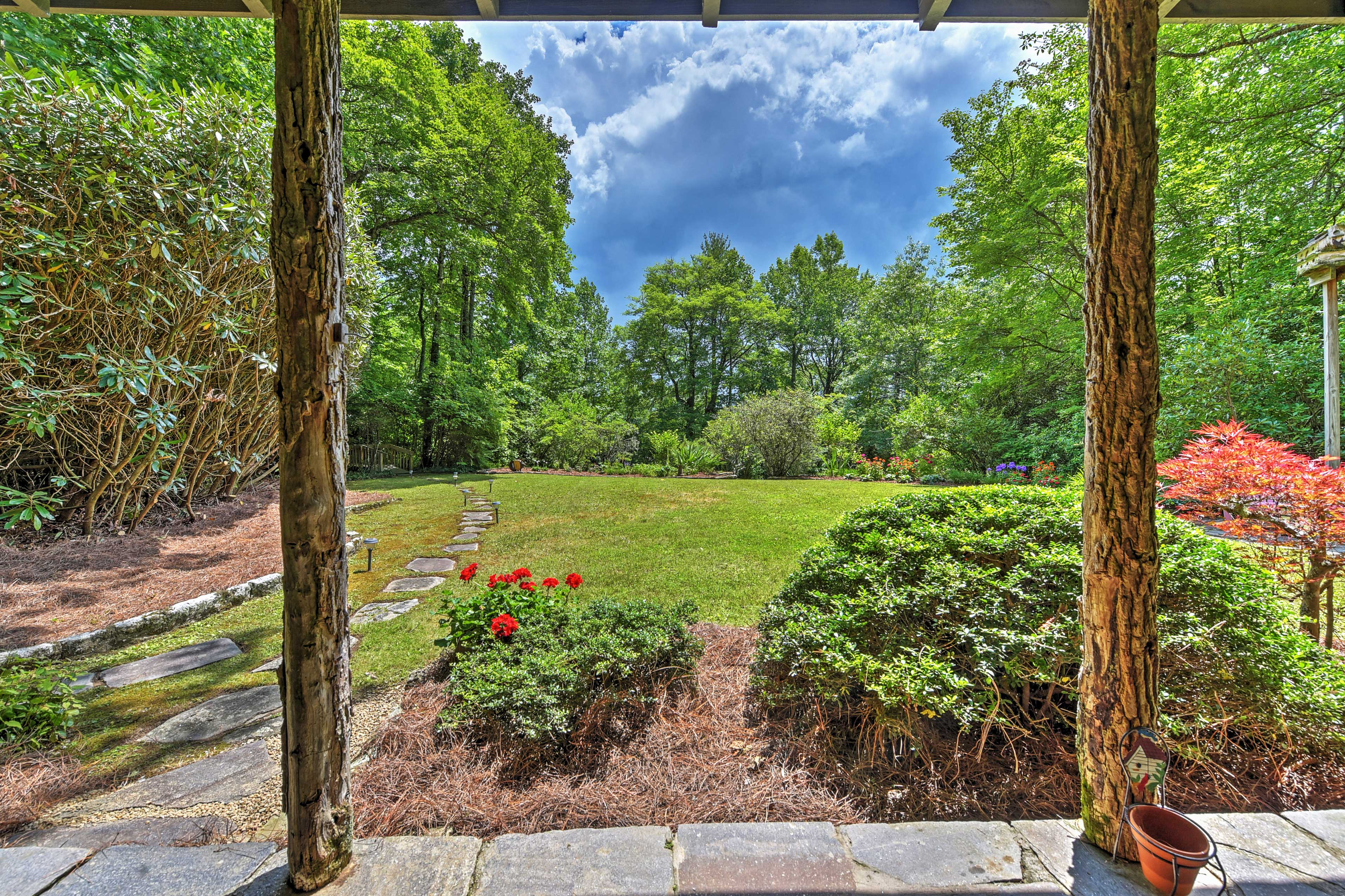 The 2-bedroom, 2-bath home for 6 is situated on 2.6 acres of private land.