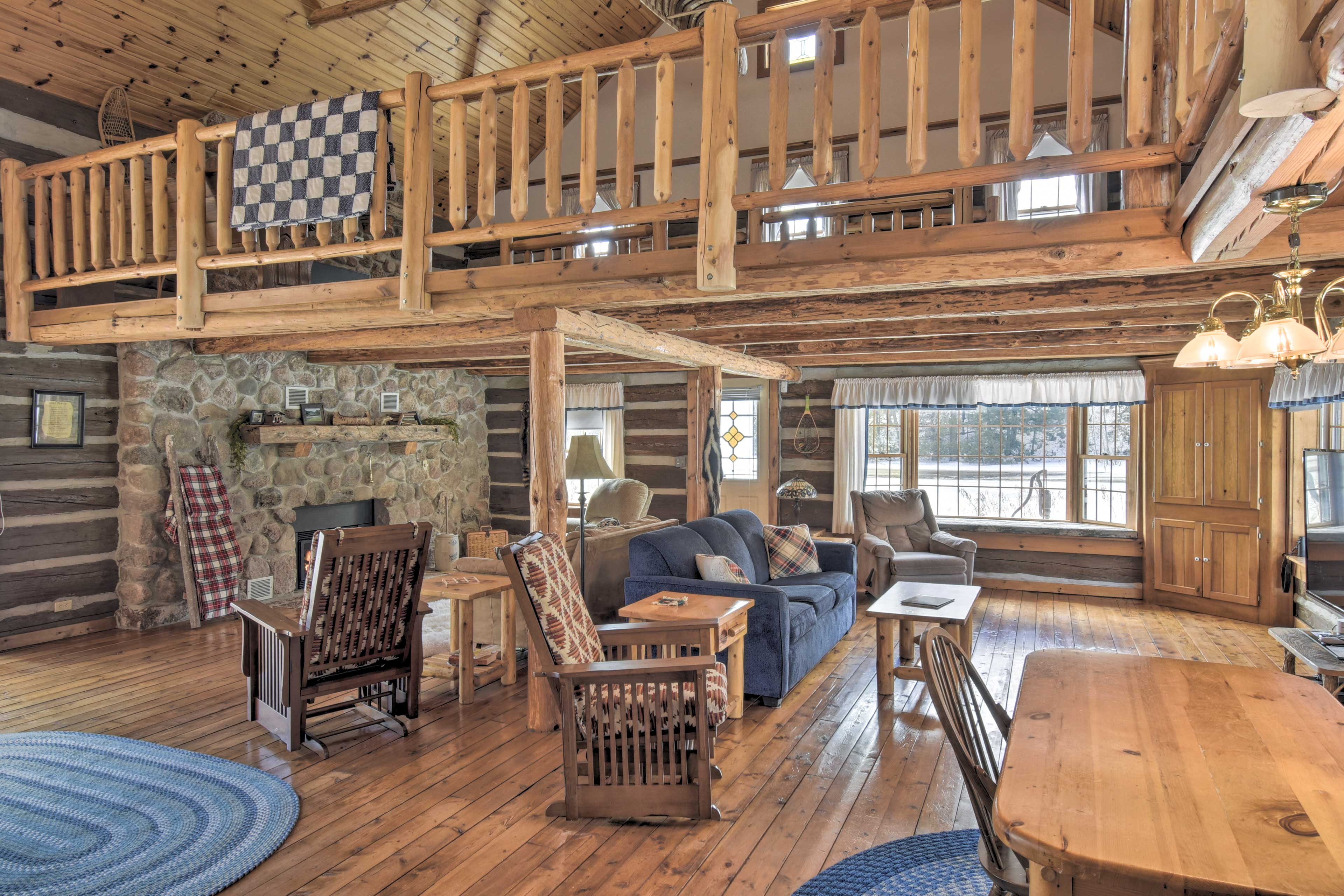 Hardwood floors span the expansive living area.