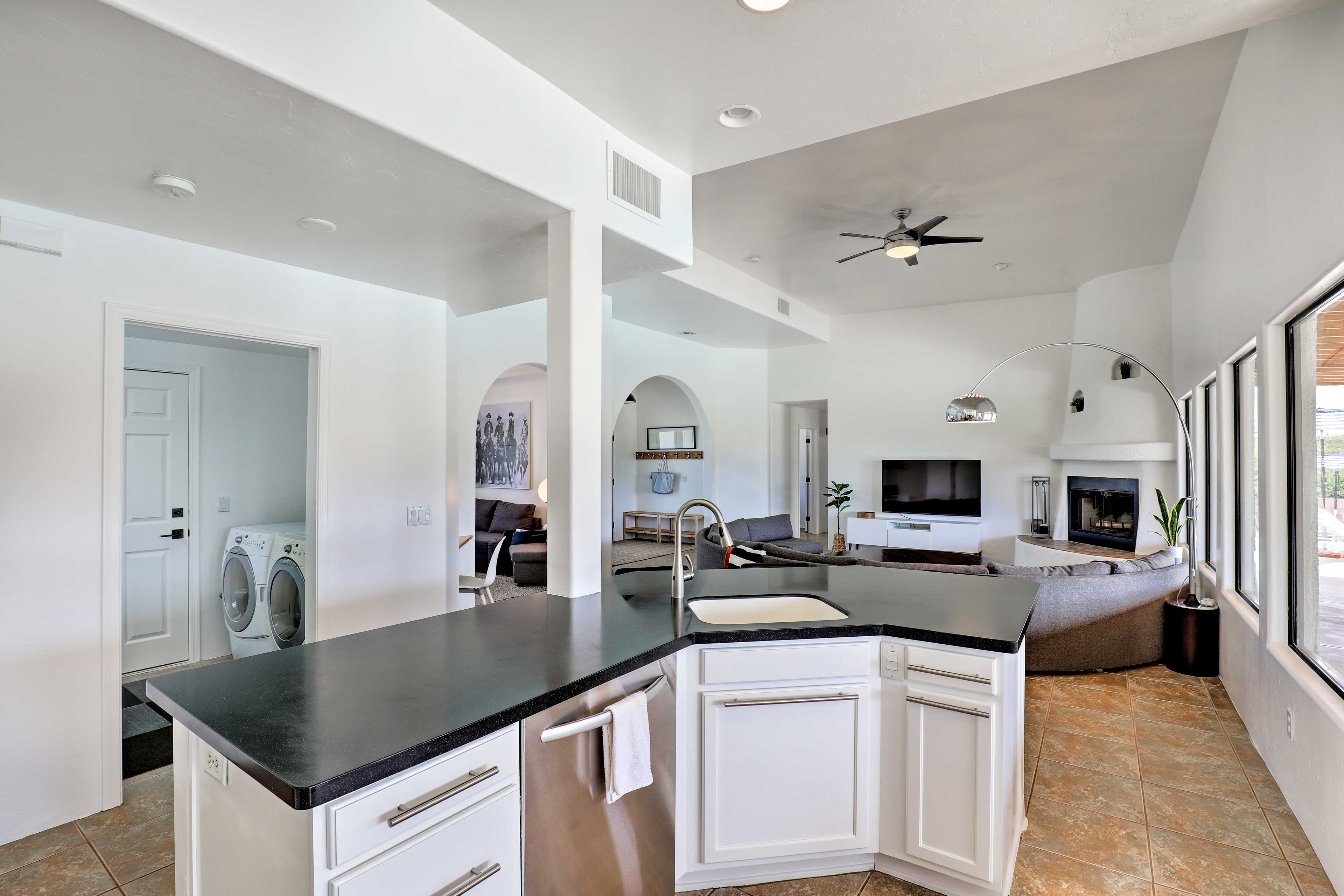 Serve food for large groups off of this kitchen island.