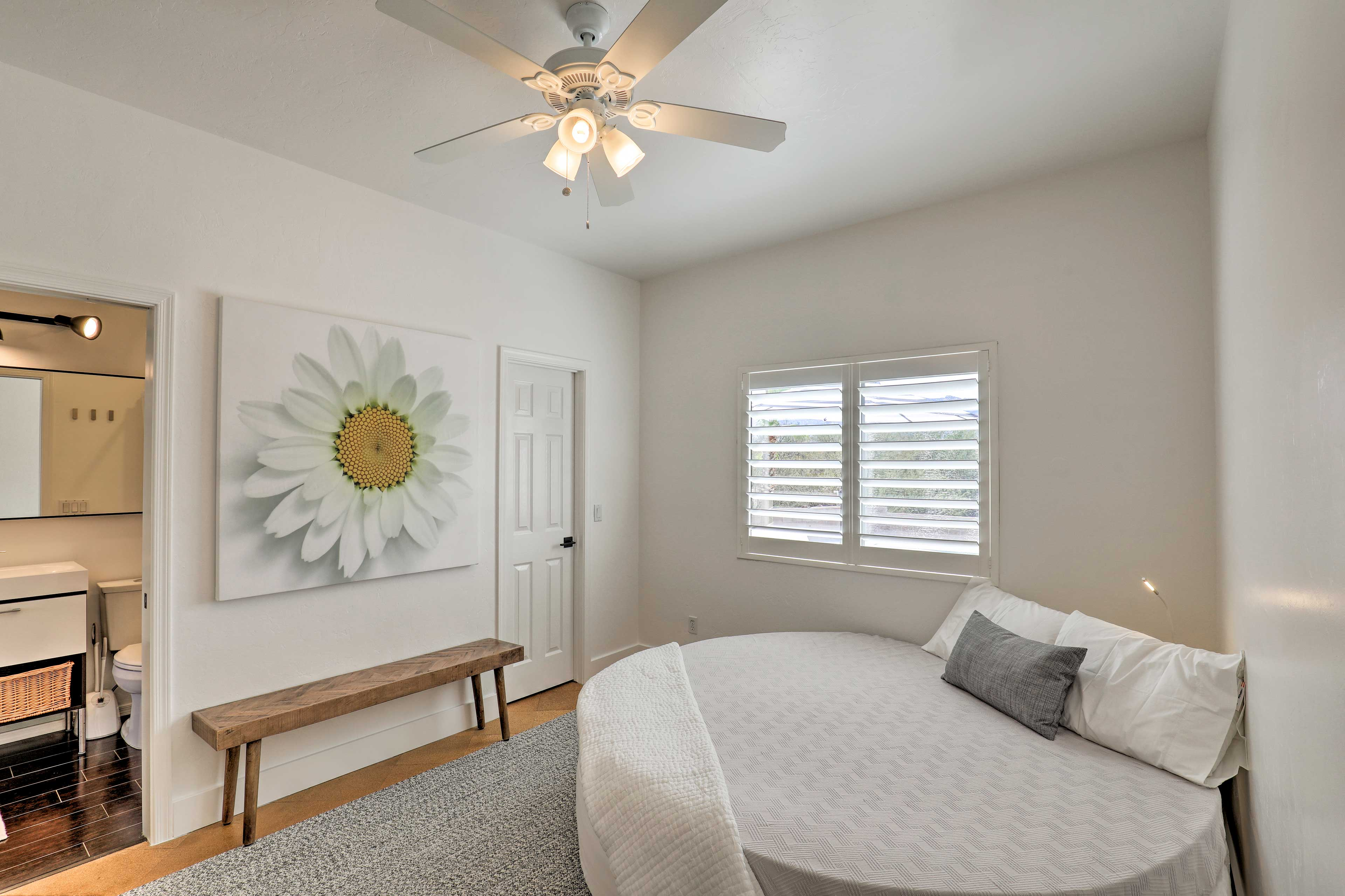 Take advantage of this unique circular queen bed.