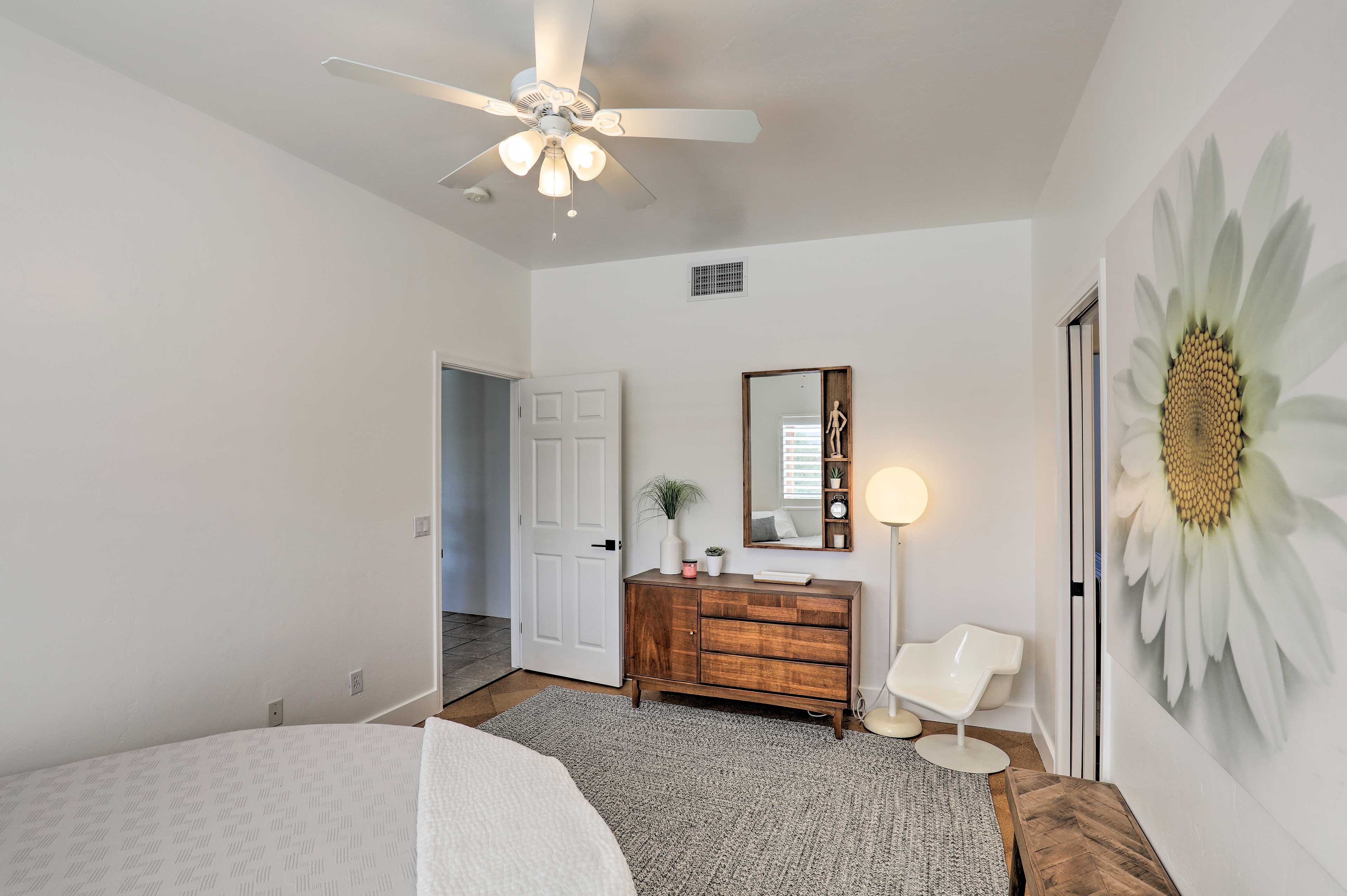 The bathroom is connected to this bedroom en-suite style.
