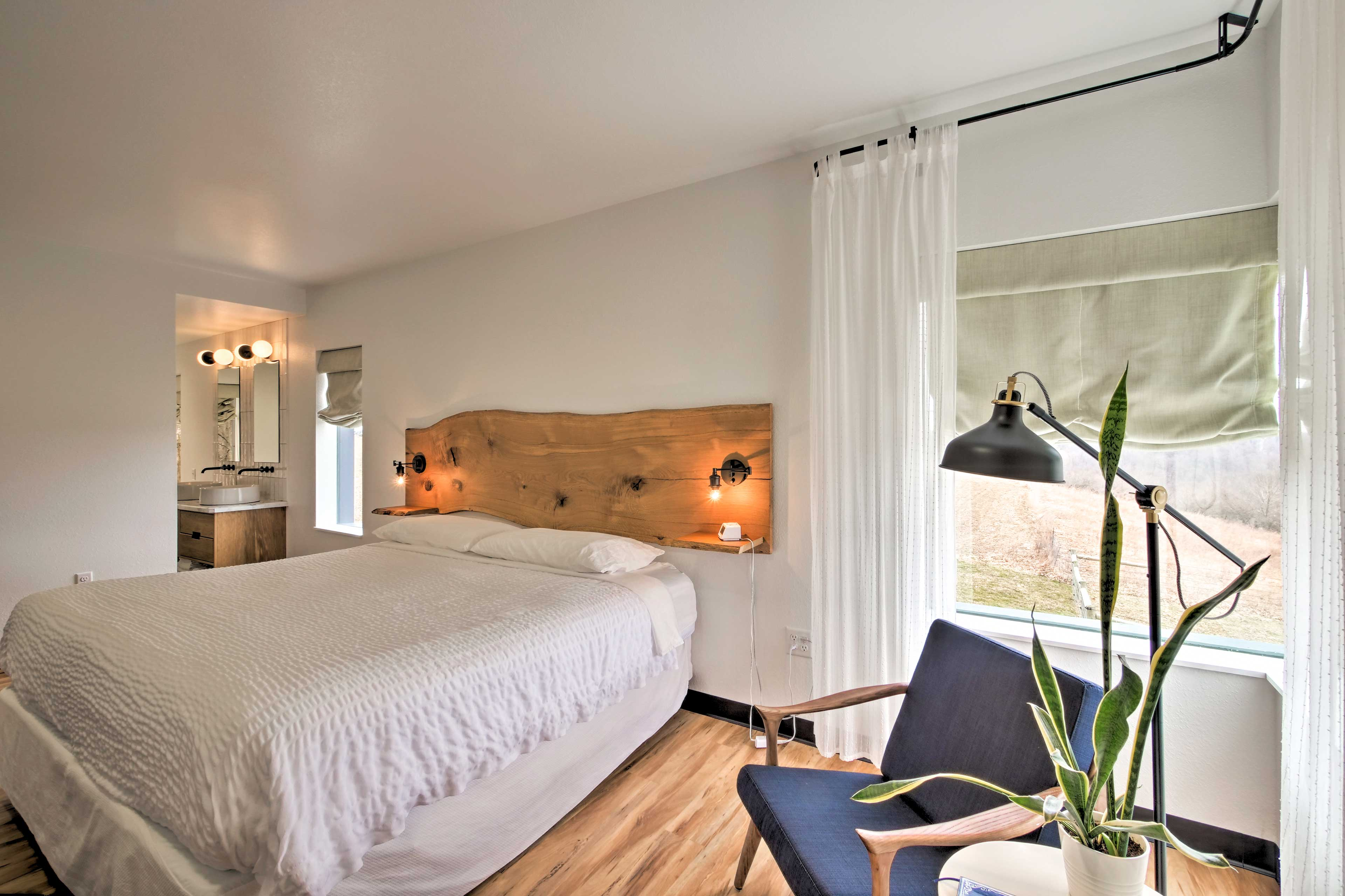 The master bedroom includes a king bed.