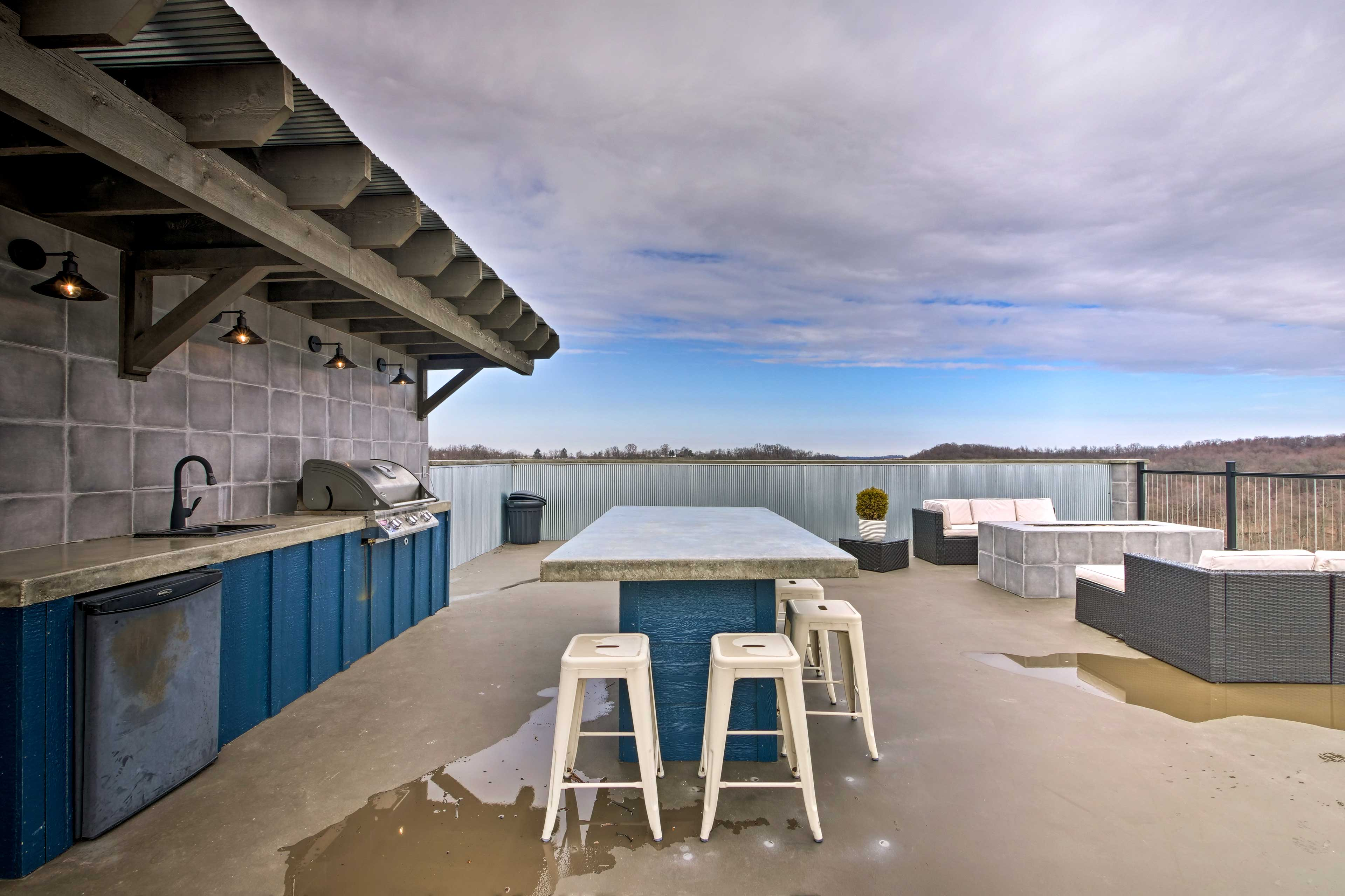 Enjoy hanging out on the rooftop patio.