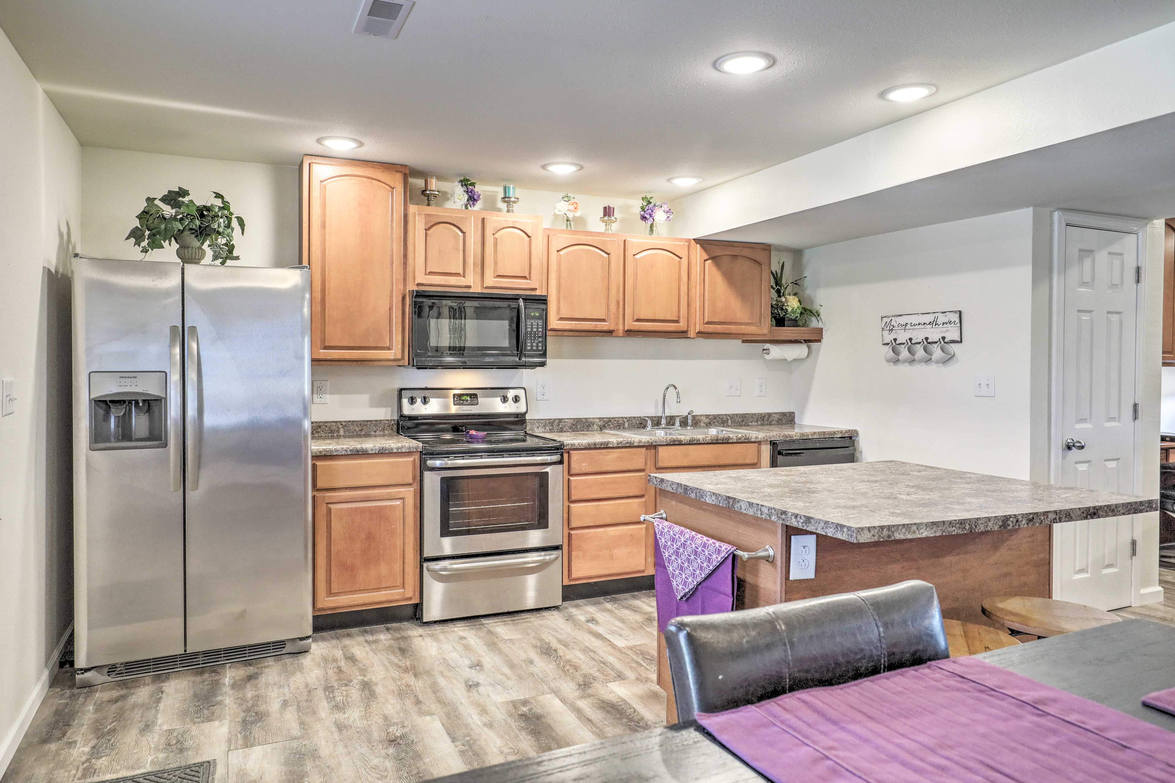 The kitchen is both fully equipped and spacious.