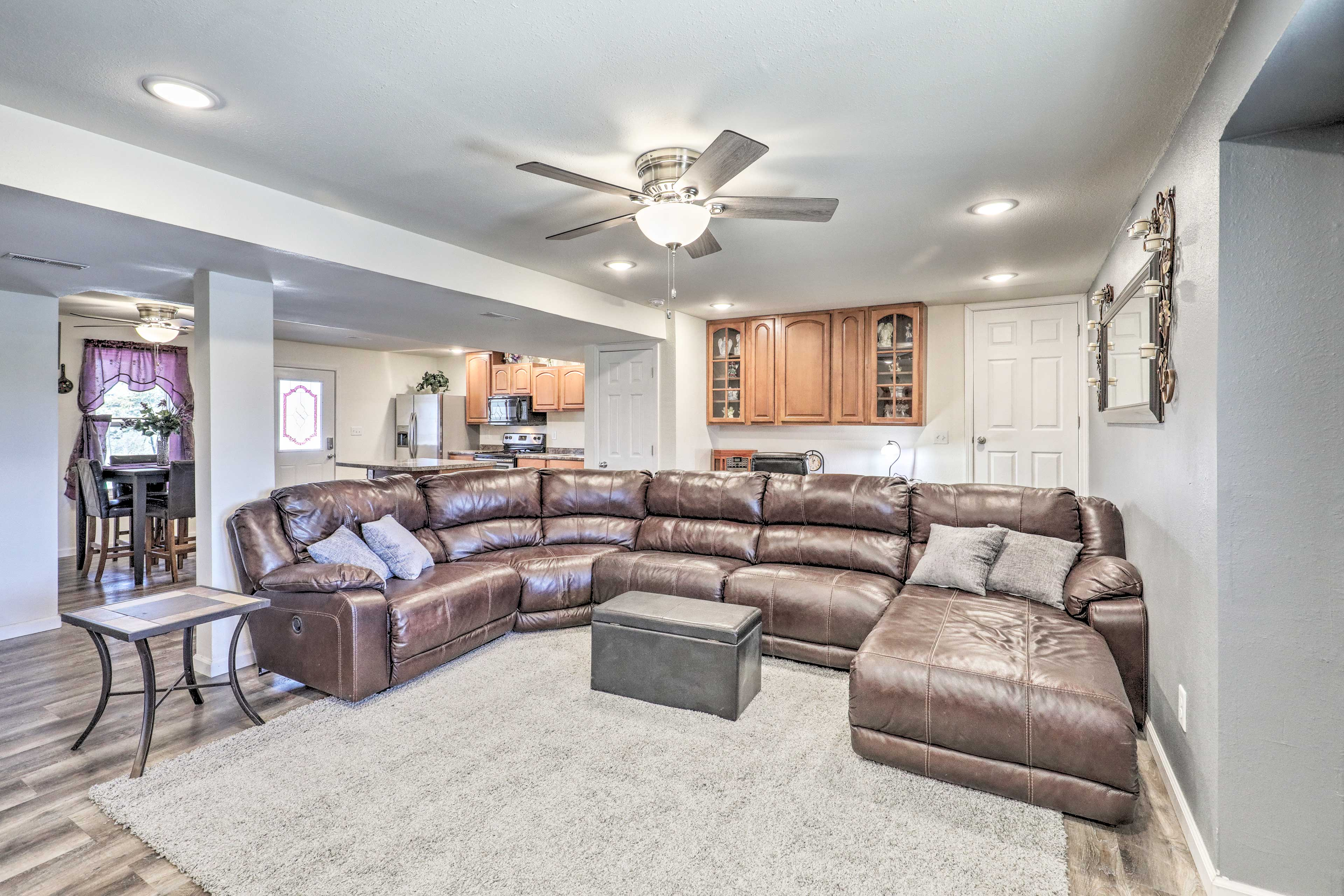 Kick back on the wraparound sectional couch.