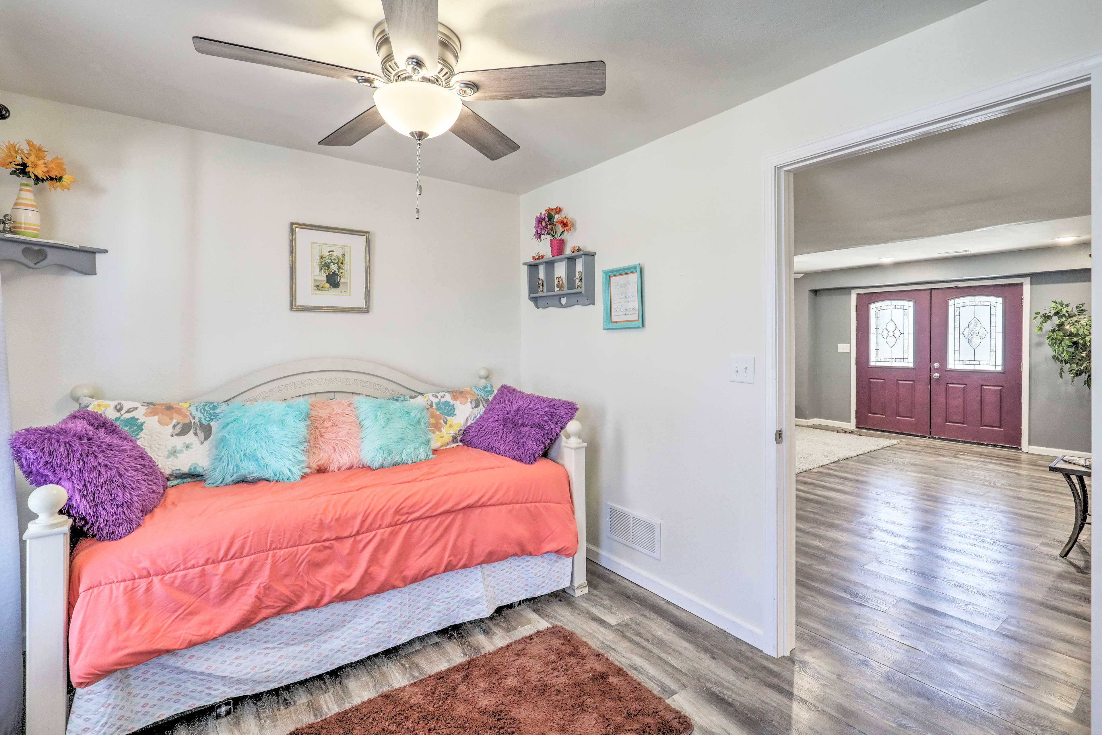 The second bedroom boasts a twin daybed with a twin trundle.