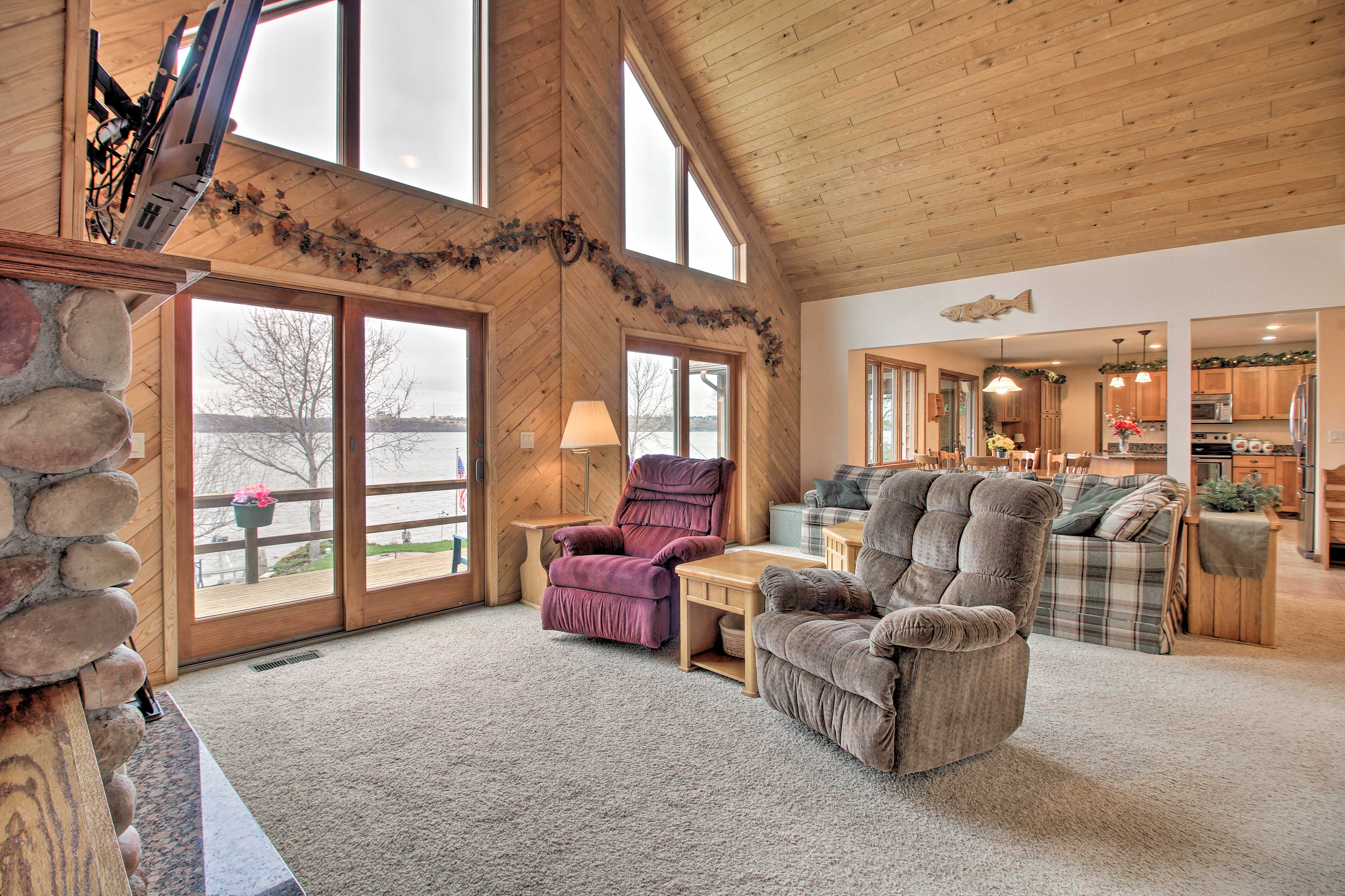 Vaulted ceilings expand the living area.